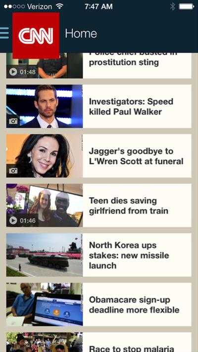- CNN mobile app homepage