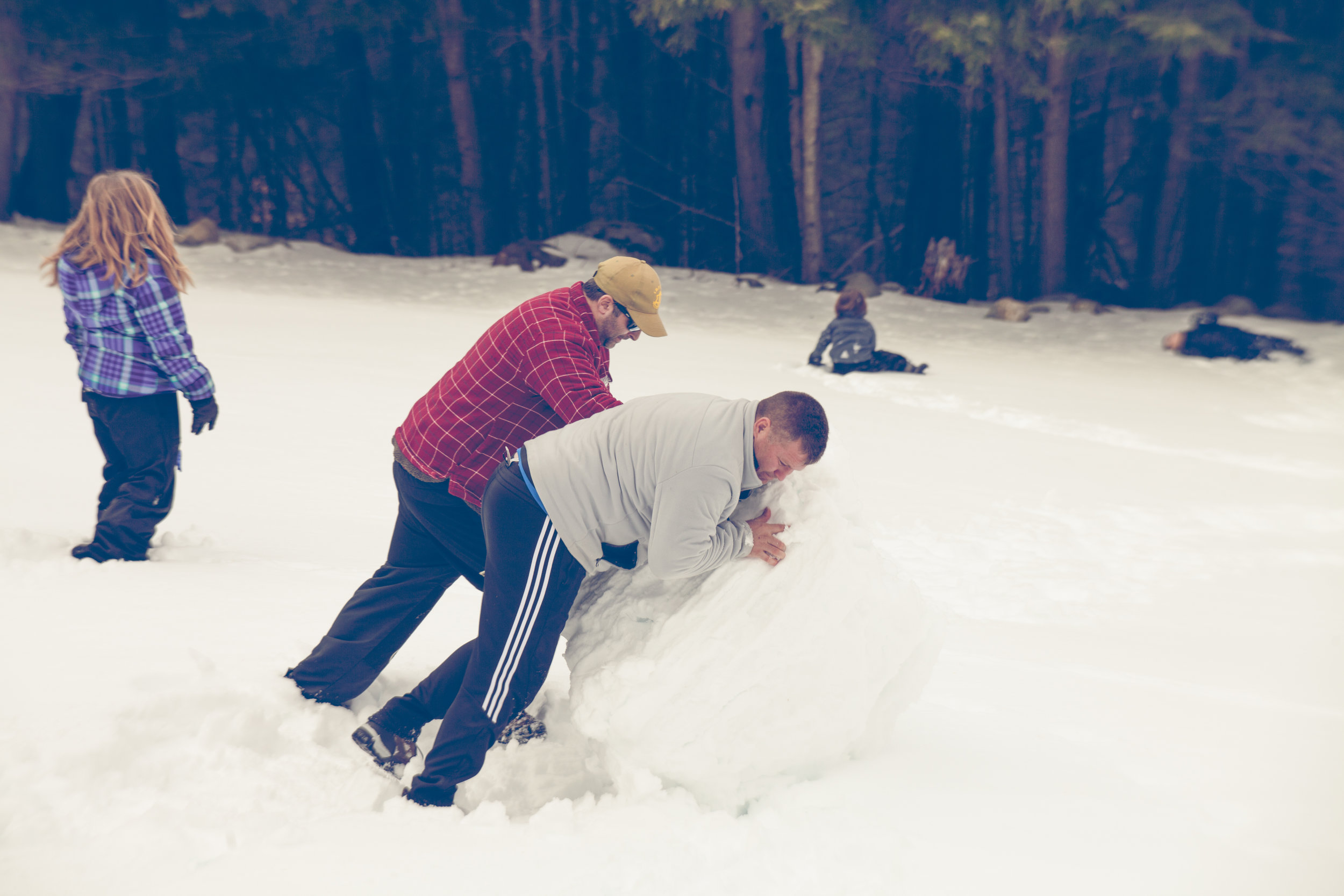 The dad's making a snow man, while the boys are rolling down the snow covered hill.