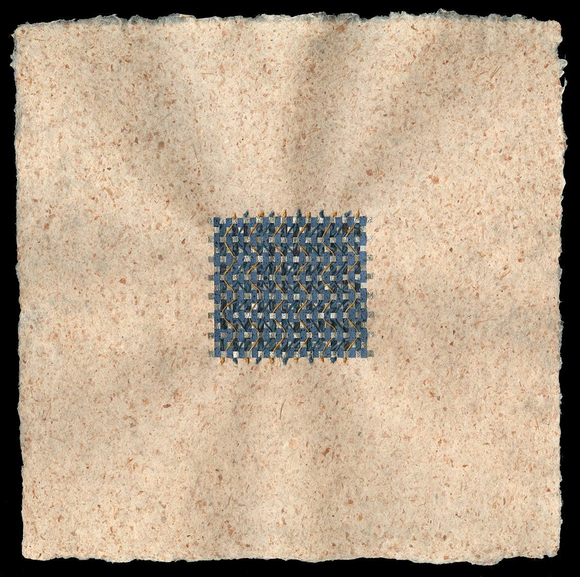 """12"""" x 12"""" Handmade flax paper with red onion inclusions—woven with pastepaper and waxed linen thread."""