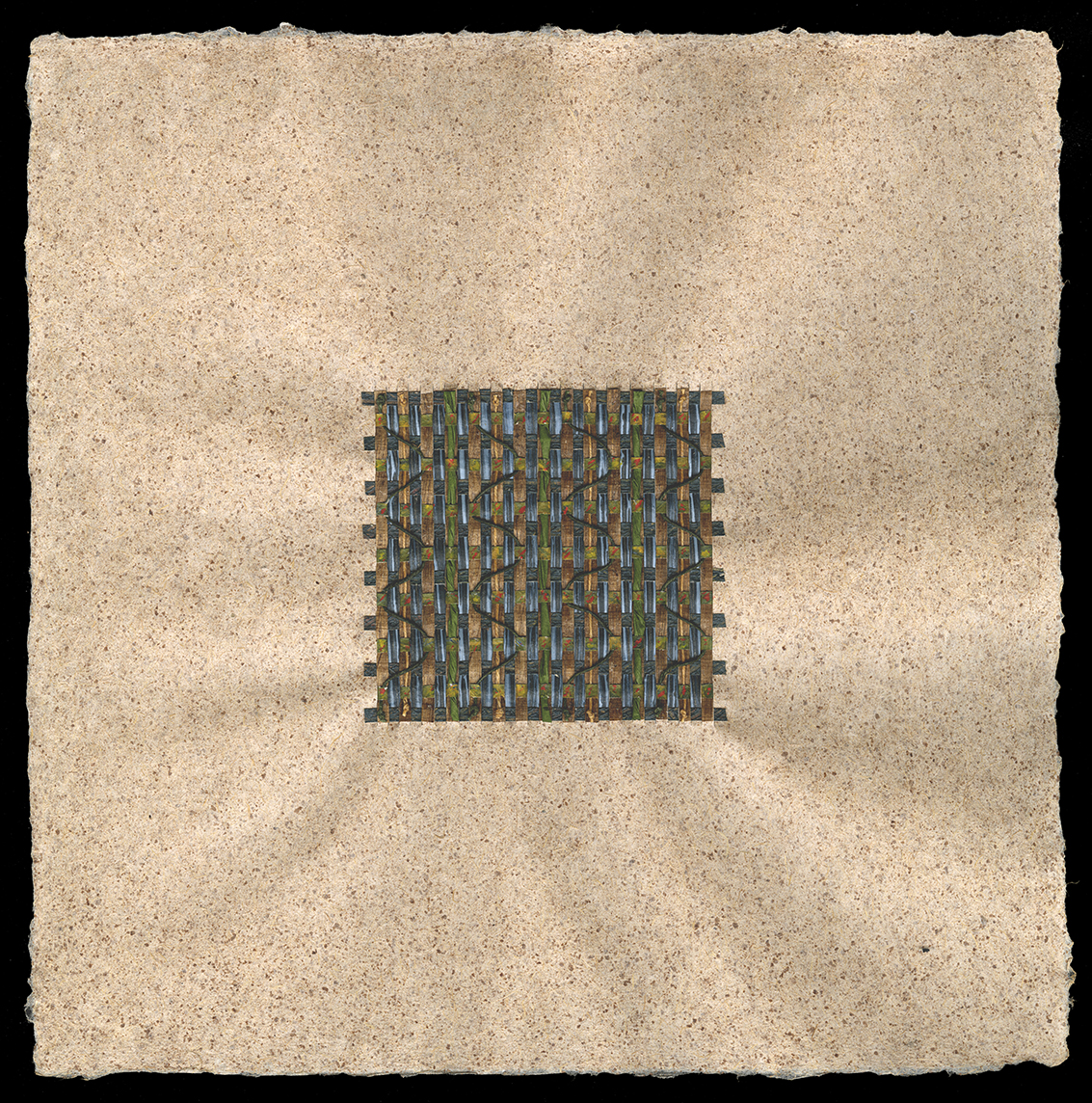 """12"""" x 12"""" Handmade abaca paper with coconut husk inclusions—woven with pastepaper and waxed linen thread."""