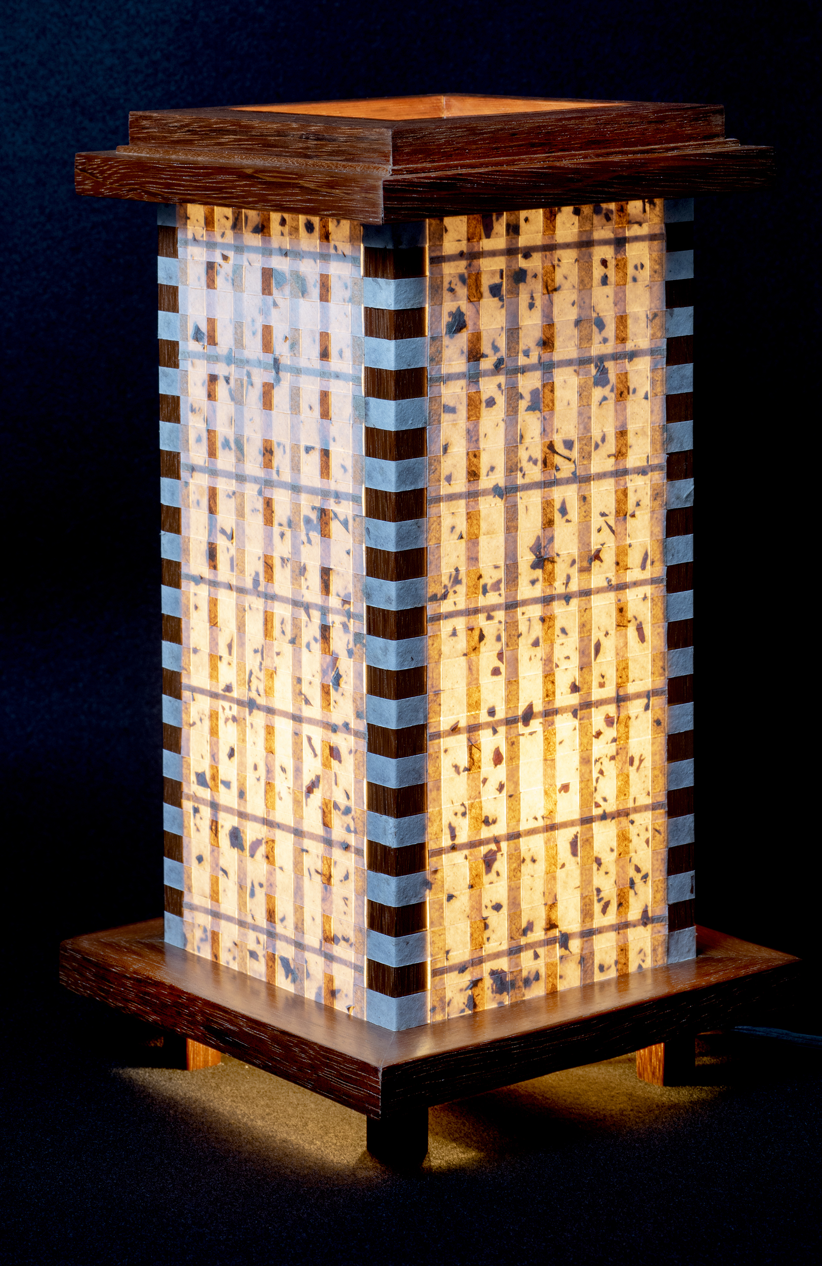 """7.5"""" x 14"""" Handmade Abaca Paper with a Brazilian Cherry Lamp Frame."""