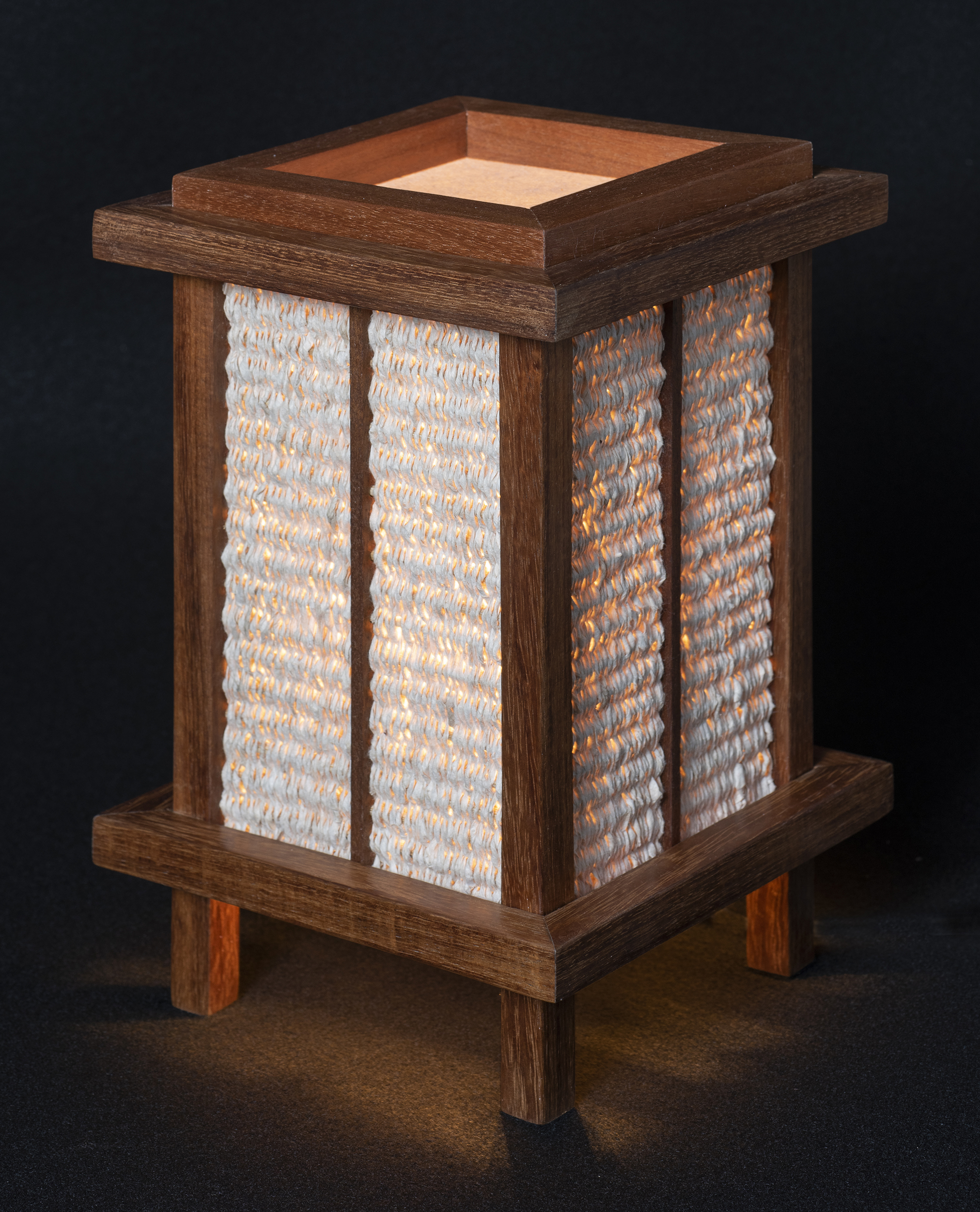 "7"" x 11"" Handmade Kozo Paper with a Brazilian Walnut Lamp Frame."