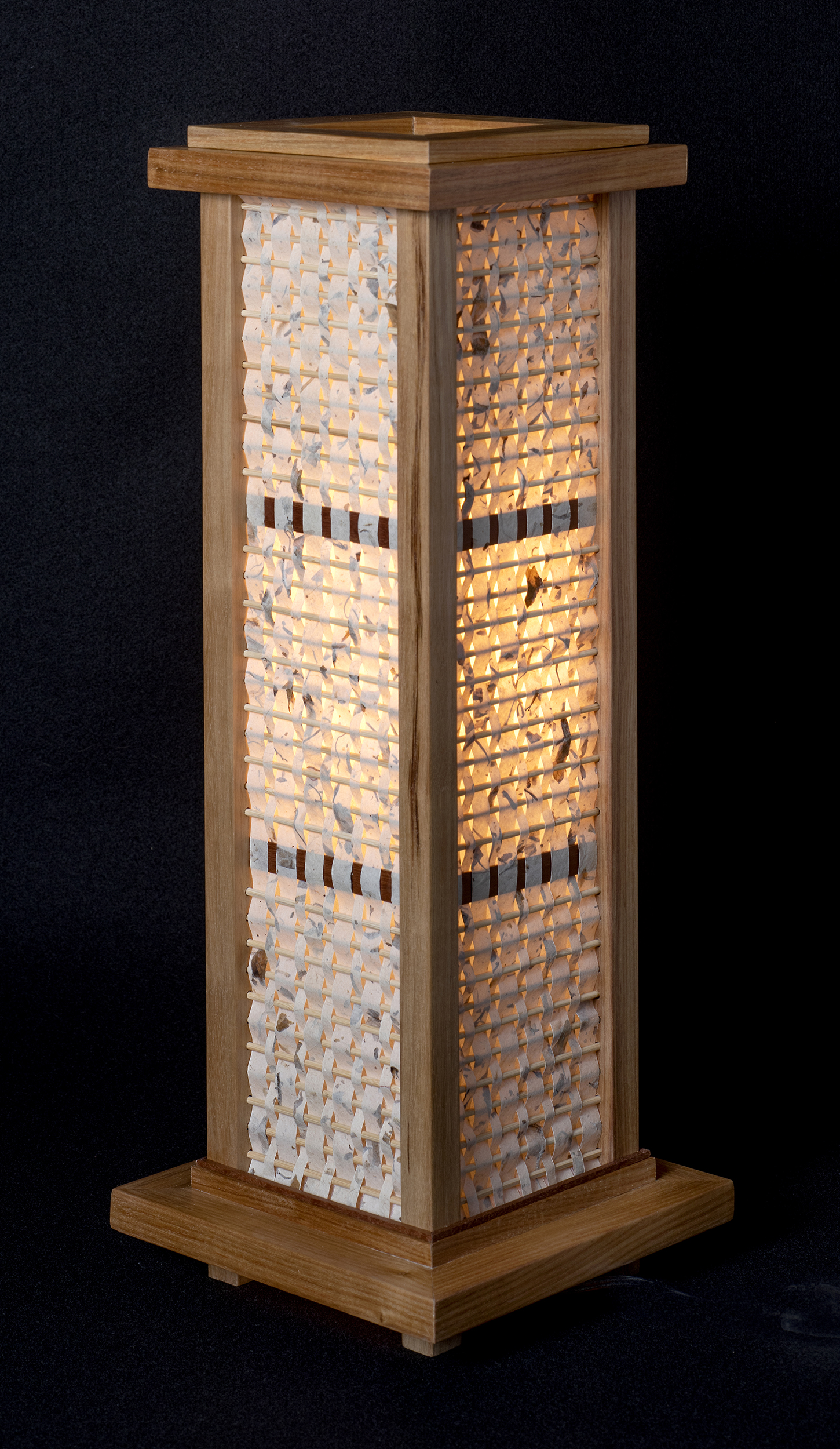 """8"""" x 21"""" Handmade Abaca Paper with a Canarywood Lamp Frame."""