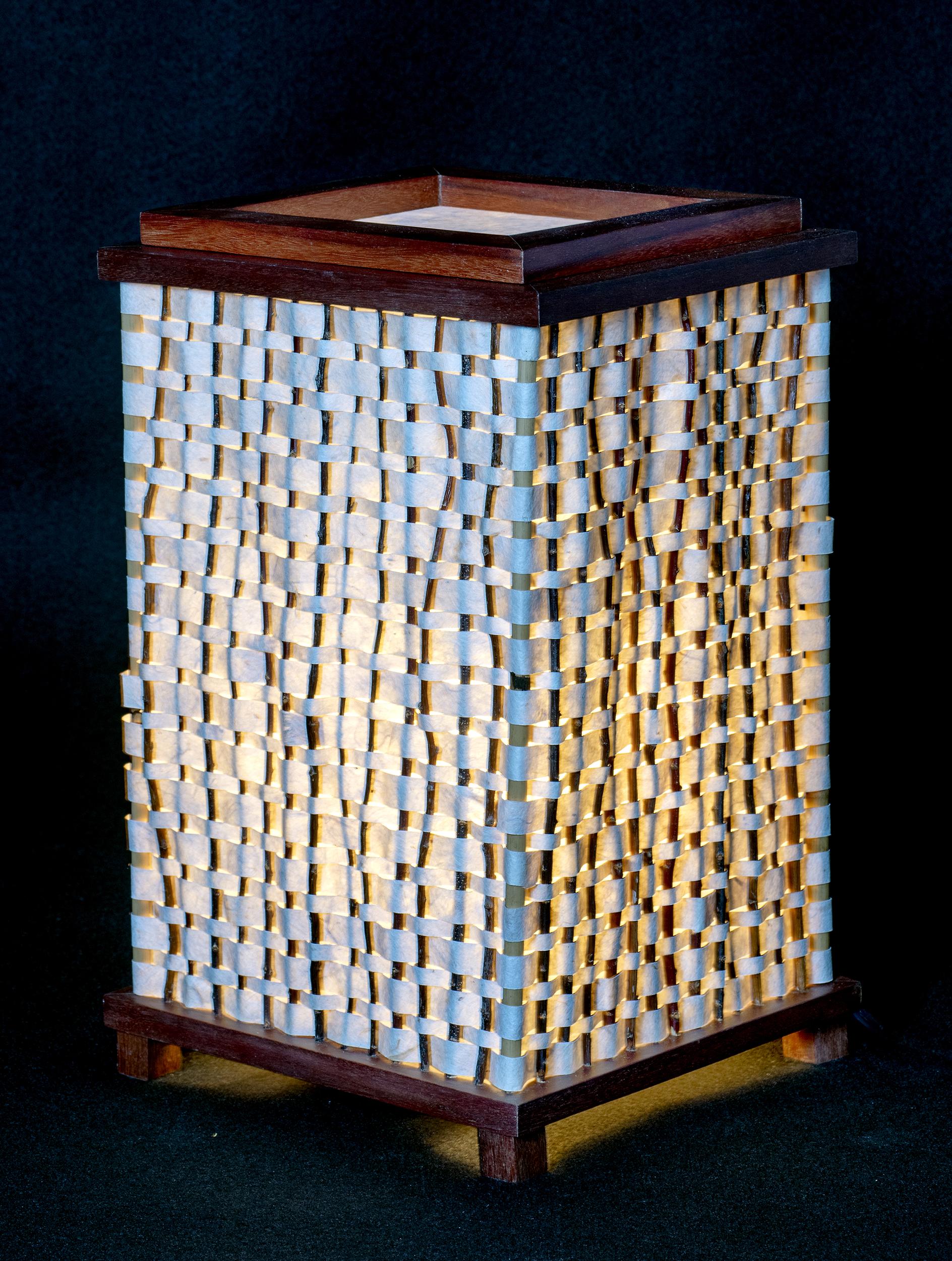 """8"""" x 14"""" Handmade Kozo Paper with a Curupay and Salt Cedar Lamp Frame."""