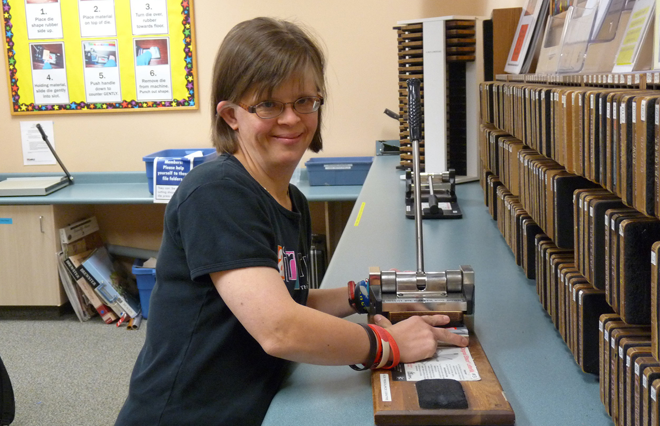 "Make - Our Makerspace offers members the use of many types of equipment including:• Laminator—25"" wide, 3 mil thick• Ellison Die Press Machines (with over 300 die shapes!)• Button Machine• Coil Binding Machine• Paper Trimmers* Day passes may also be purchased for $5."