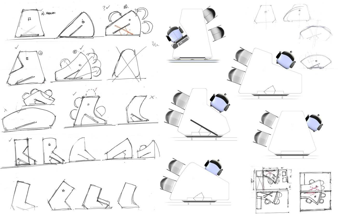Exploration of ergonomic work surface forms with monitor sharing.