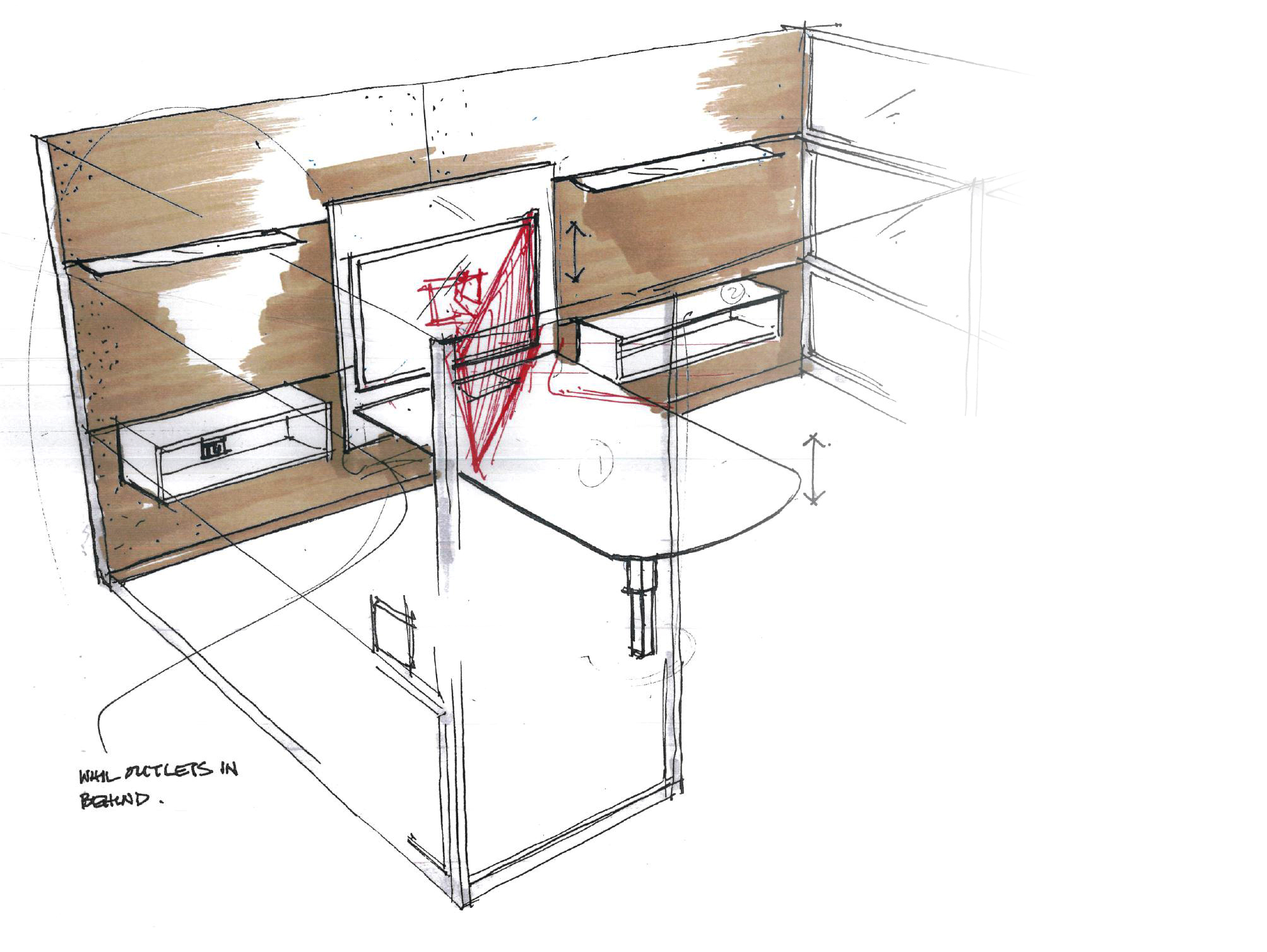 Initial concept sketch to demonstrate the monitor and work surface moving together.