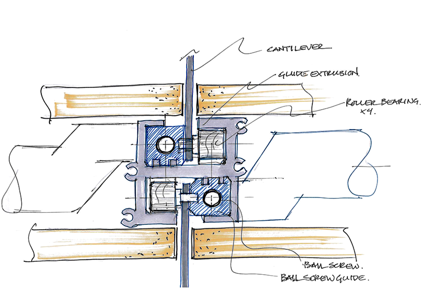 Early sketch of double-sided wall actuator.