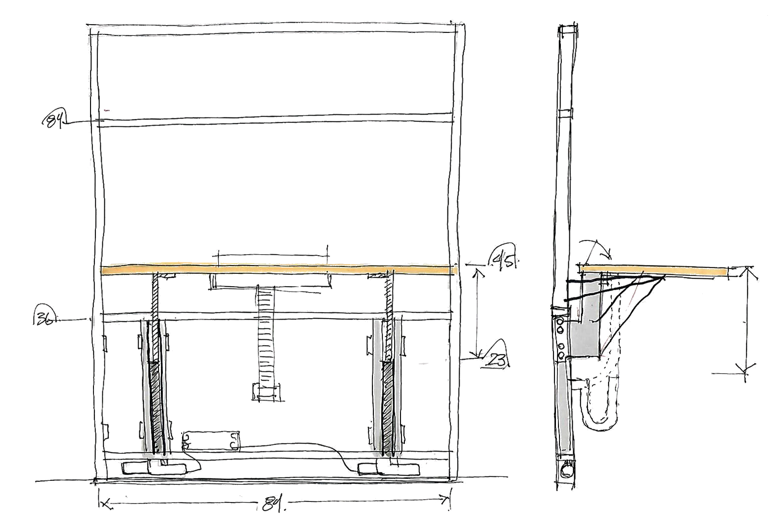 Sketch evaluating sit-stand dimensions.