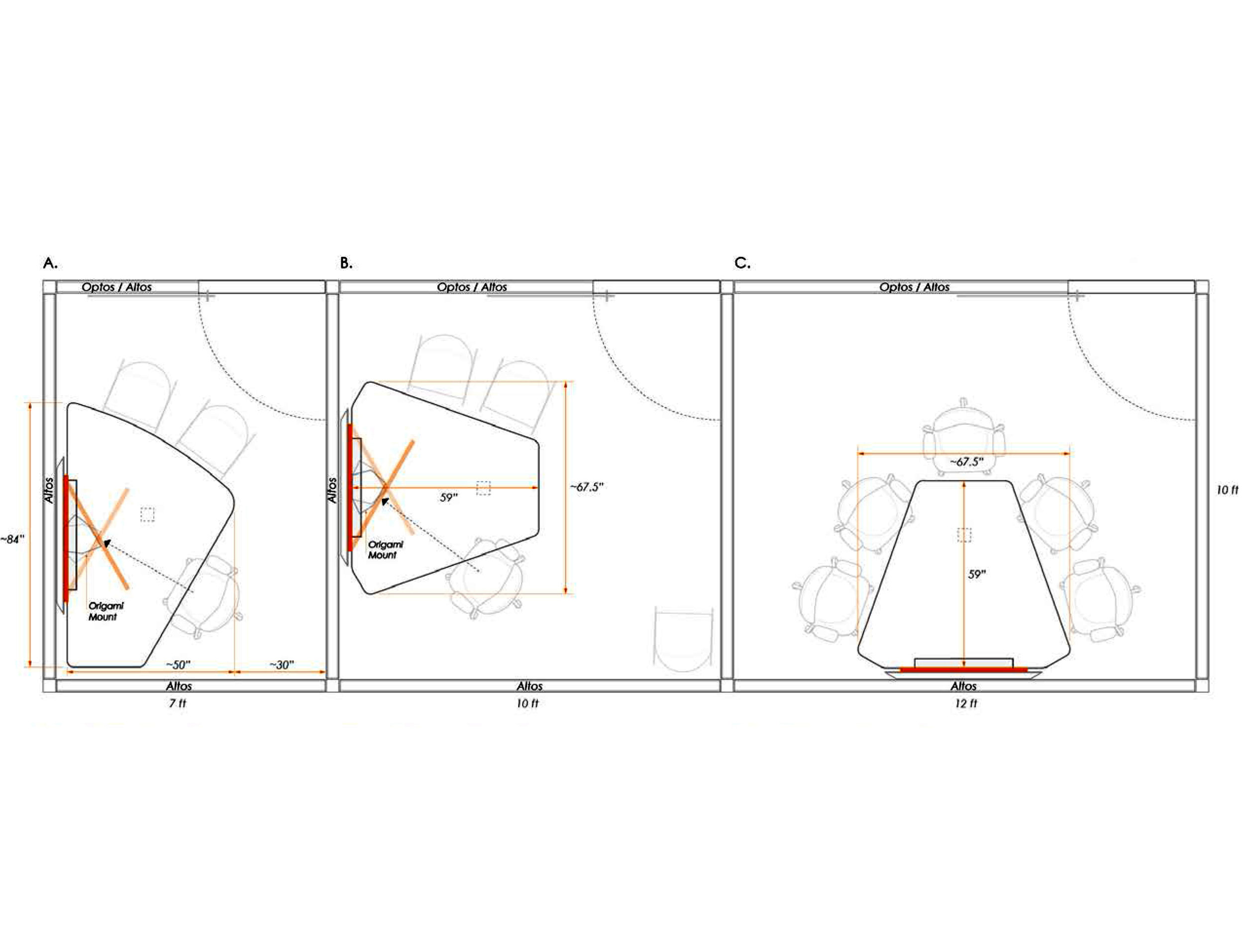 Tek Pier surface and seating configurations.
