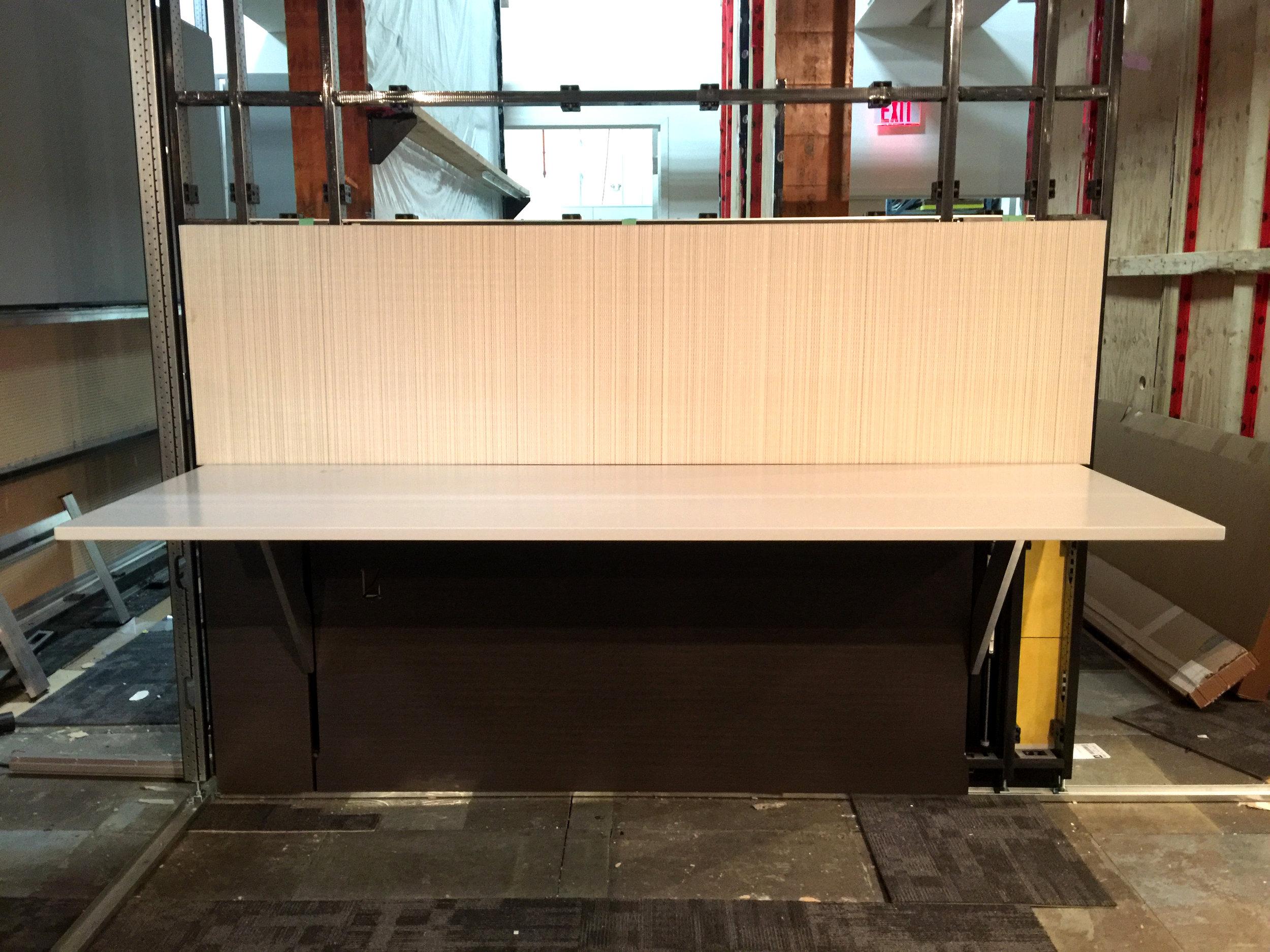 Prototype of Altos desk and hard fascias.