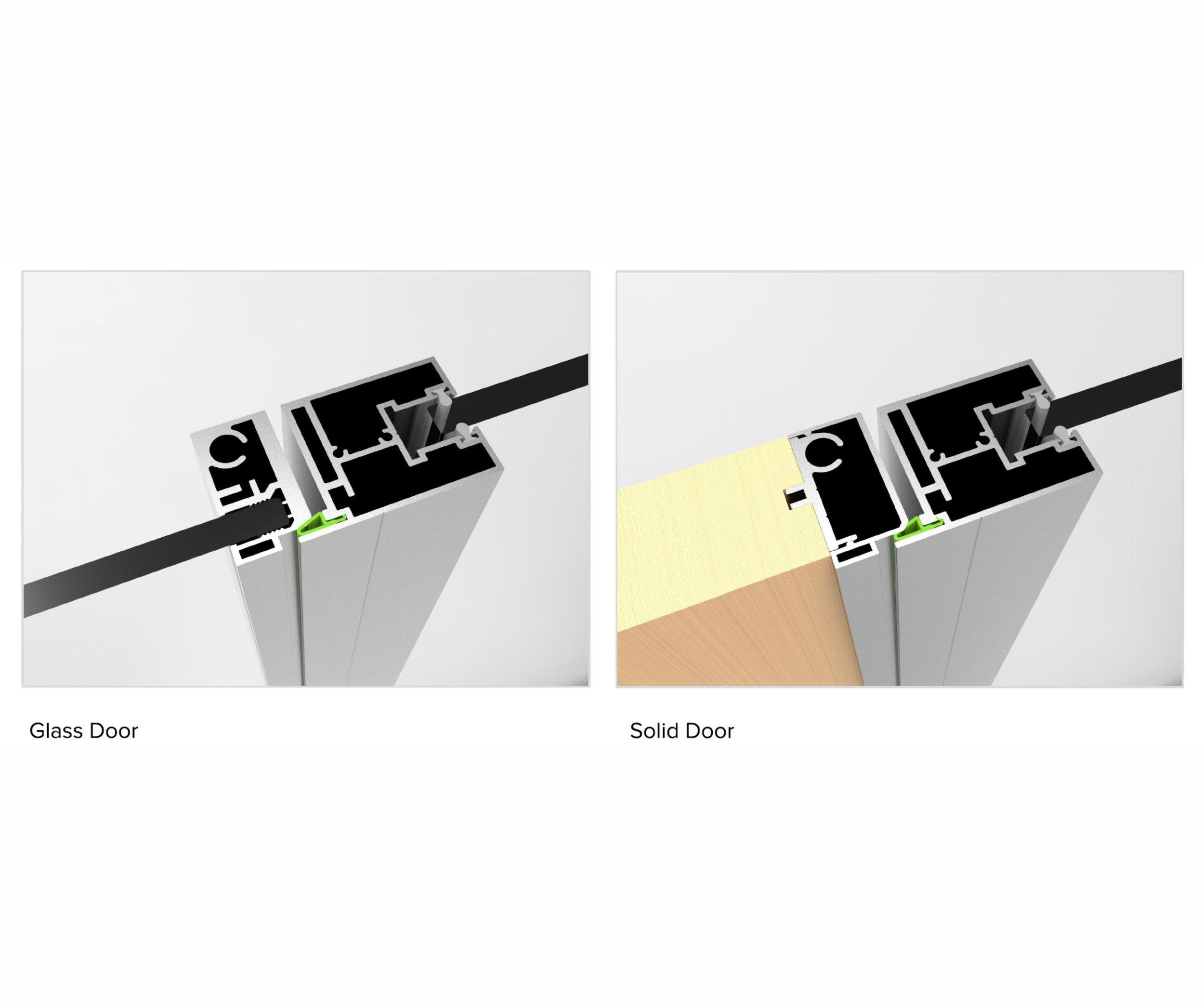 Glass pivot leaf vs. solid pivot door.
