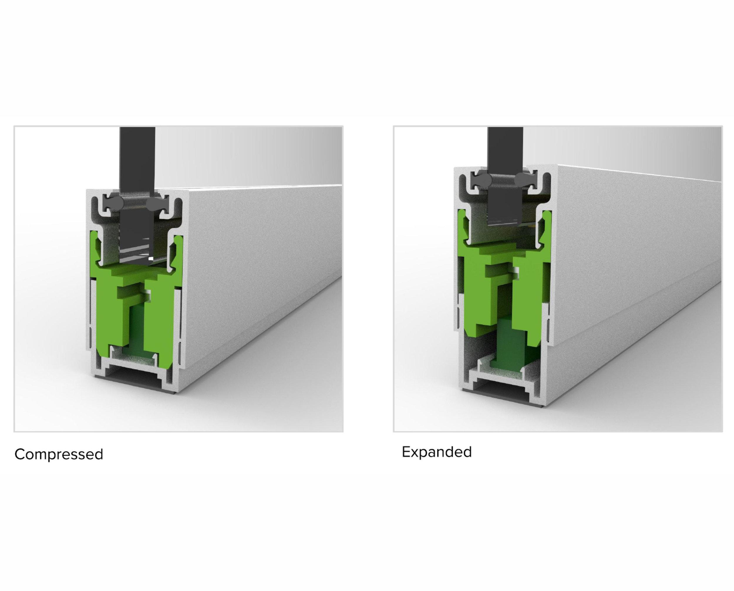 Adjustable base frame to accommodate floor discrepancies.
