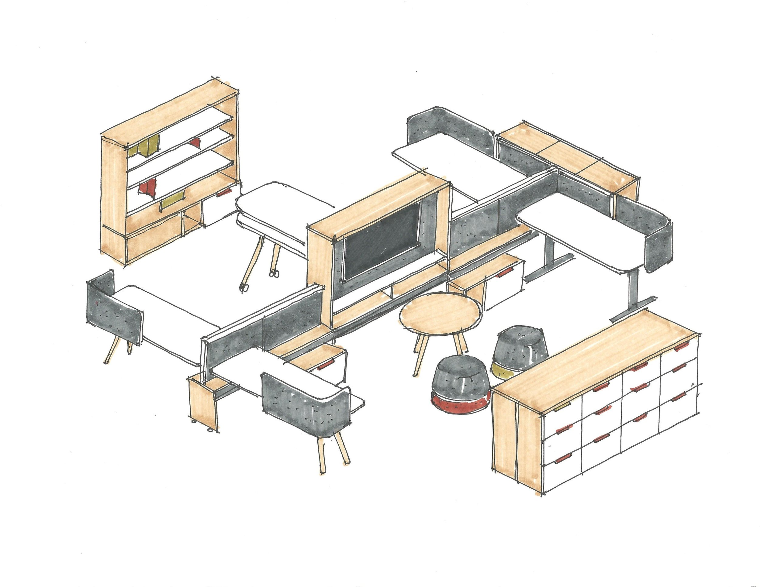 A layout of upStage configured to suit a set of client needs.