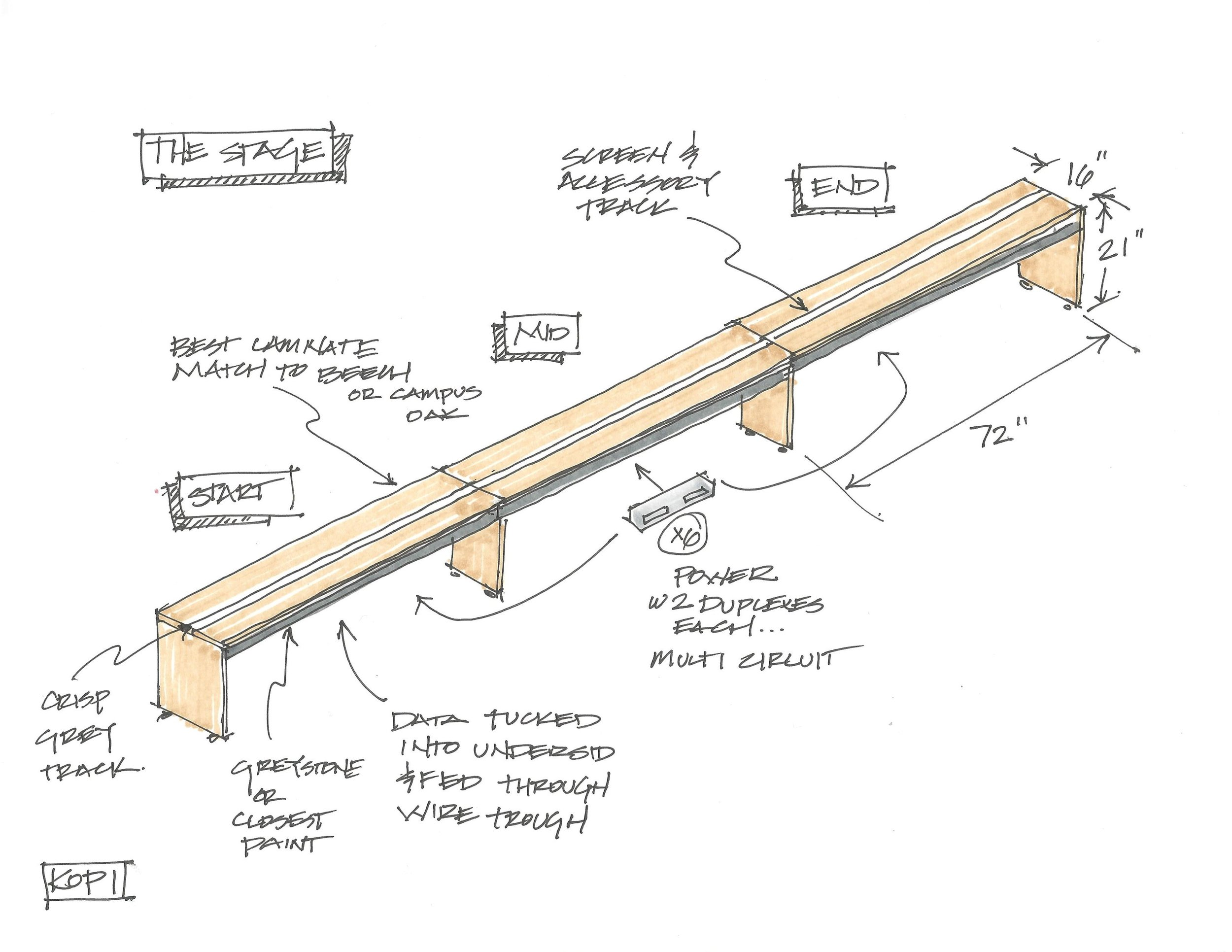 A sketch for a potential client showing the base platform, or stage, that supports the system.