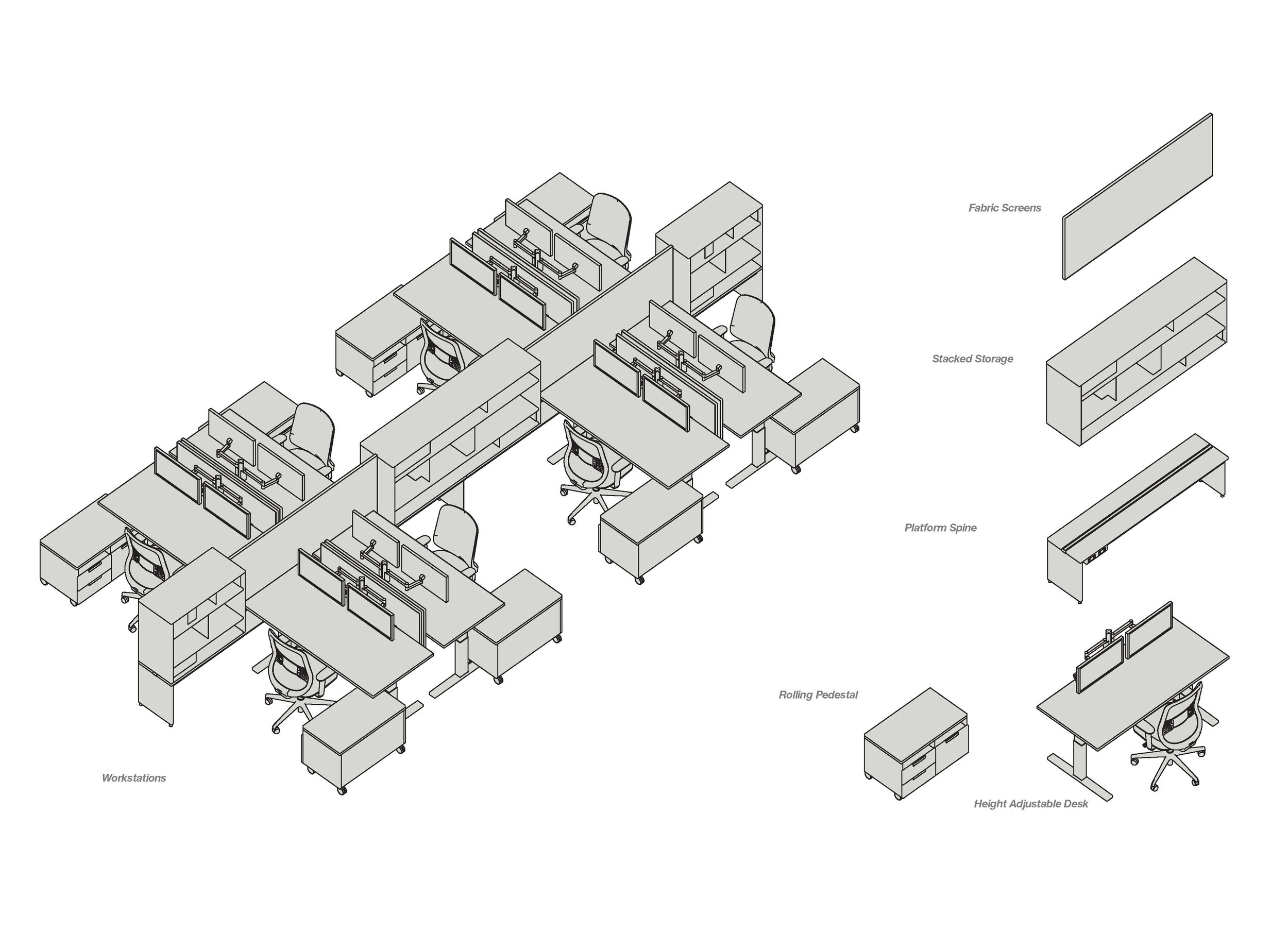 A schematic illustration of upStage for a client.