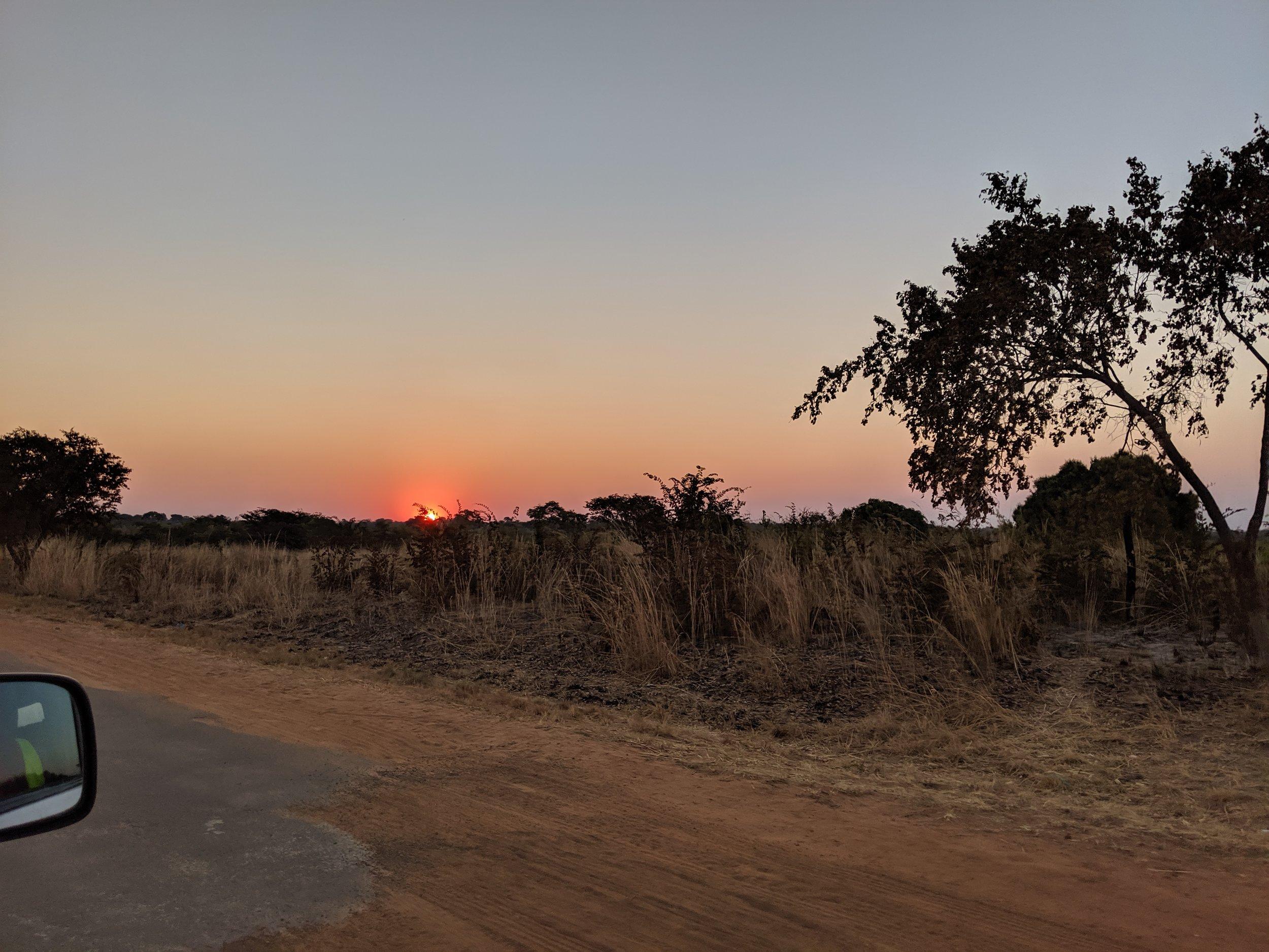 Sunset on the road to Shamiyoyo