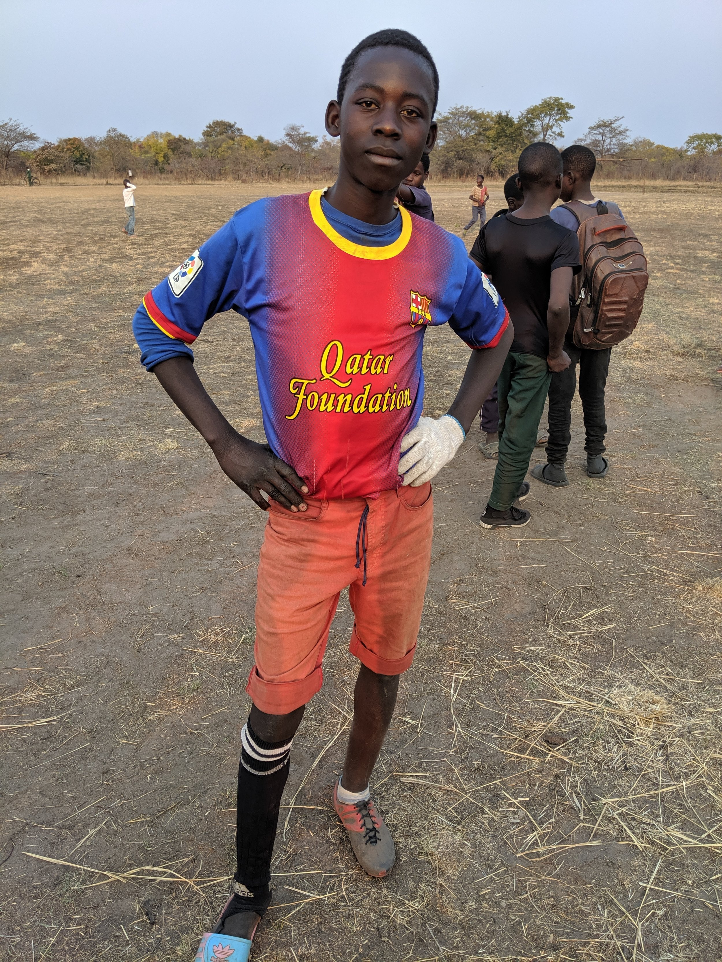 Man of the match - Adam with the game's lone goal. He was injured in the second half. He didn't play wearing that sandal, but one of his opponents played barefoot.