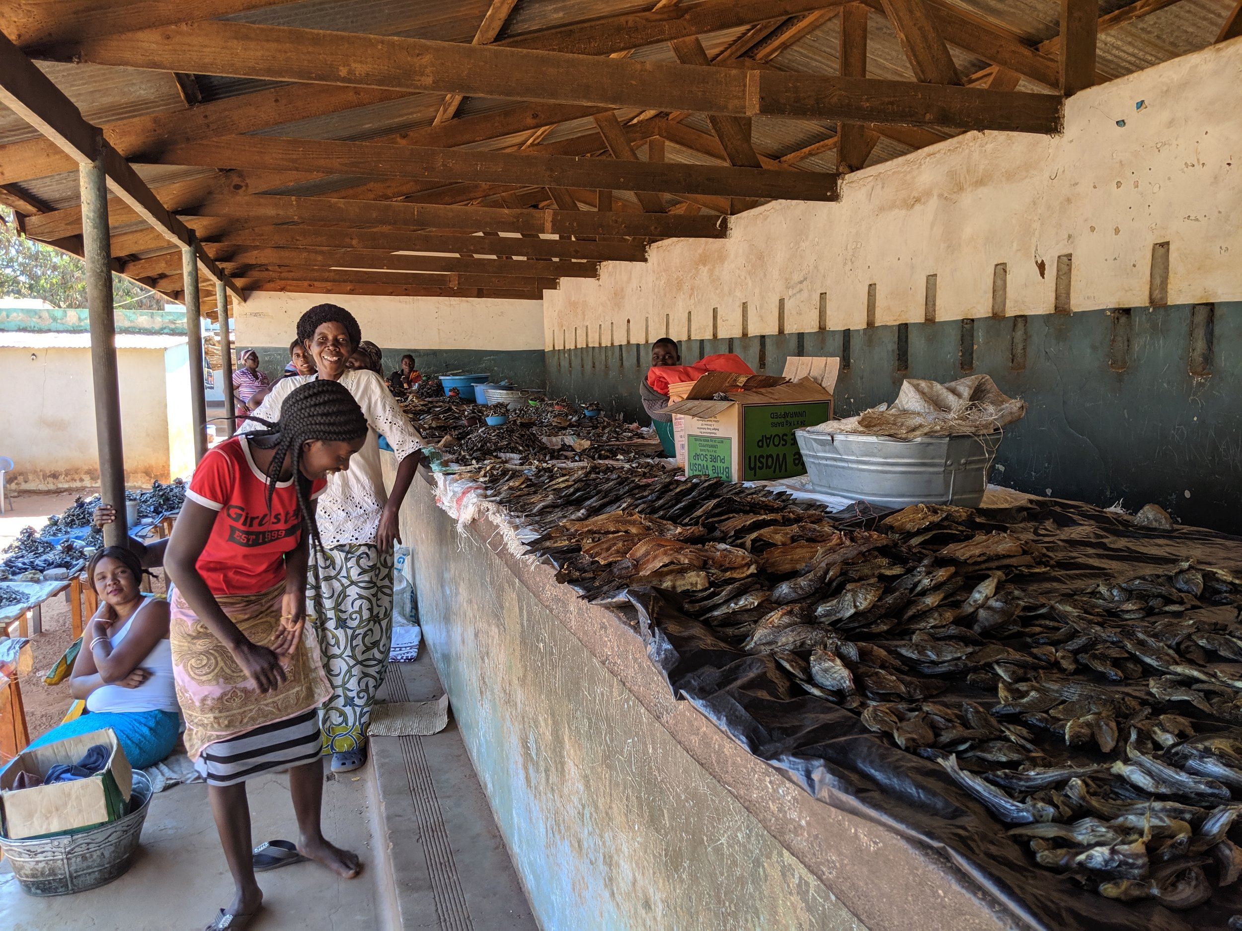 Dried fish at the market - used as a relish with nshima