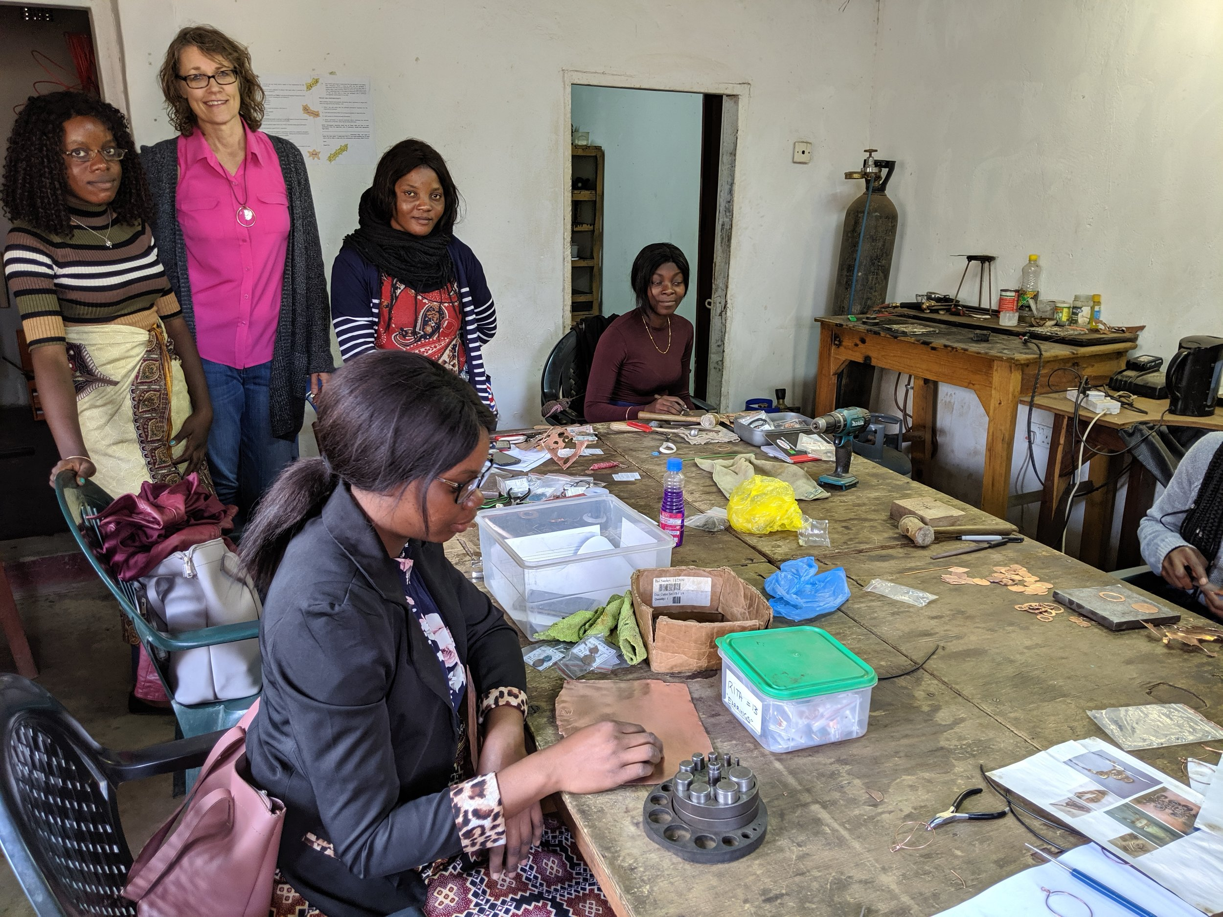 Dawn Close and some of her FREE staff in their Lusaka workshop