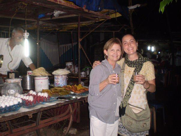 My mother, Donna Sarrett (on the left) and I (on the right) outside a tea stall in Cochin, Kerala.
