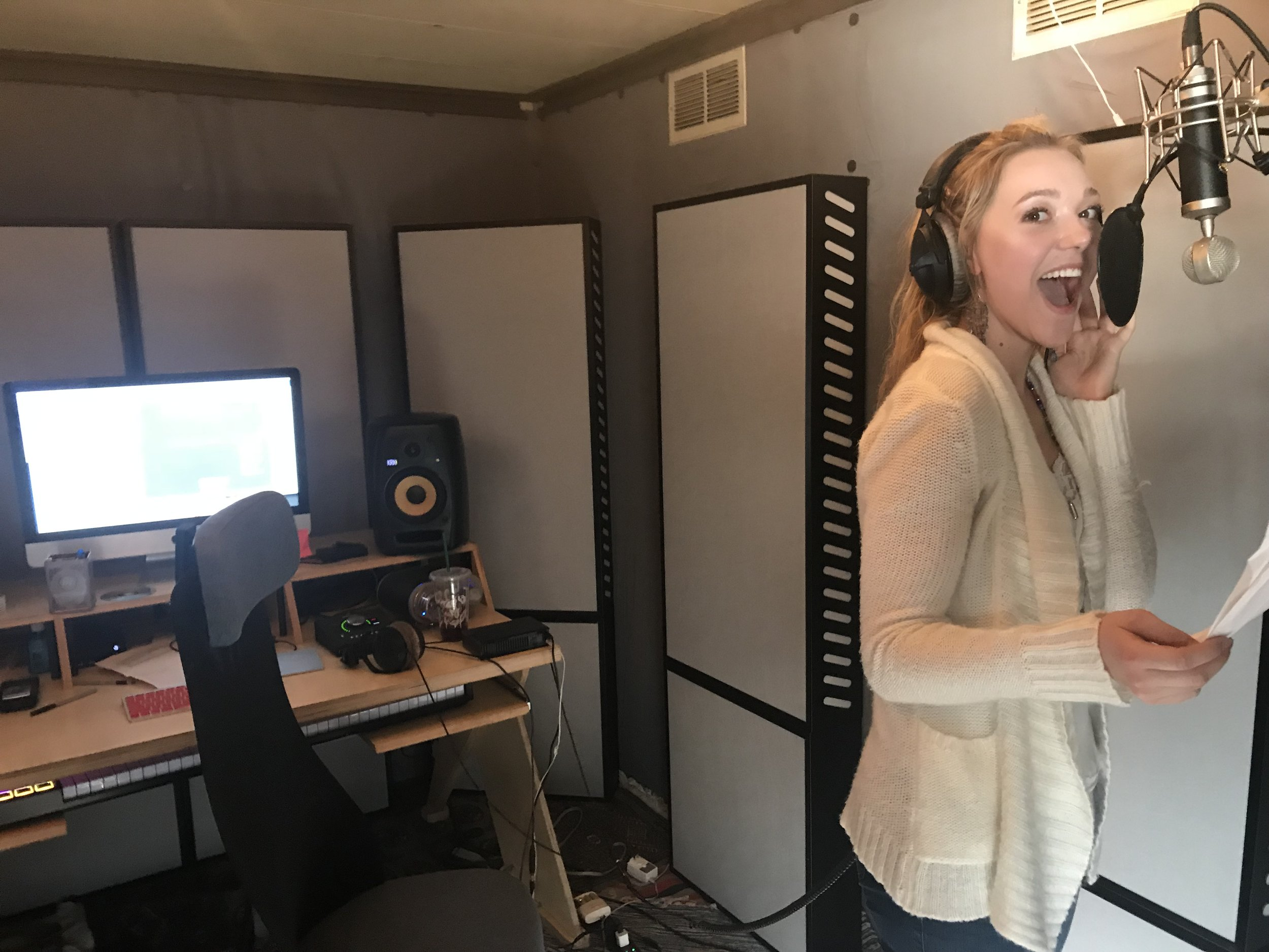 BTS of Jaimie in studio recording her first single, FULL MOON.