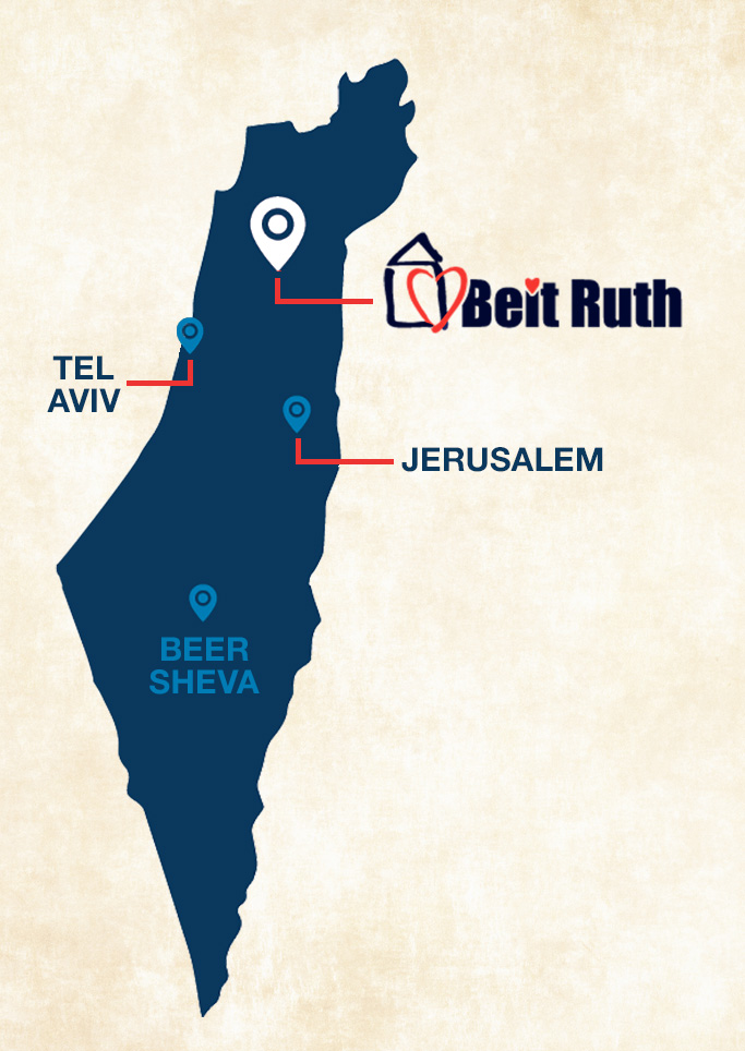 Map of Israel with Beit Ruth