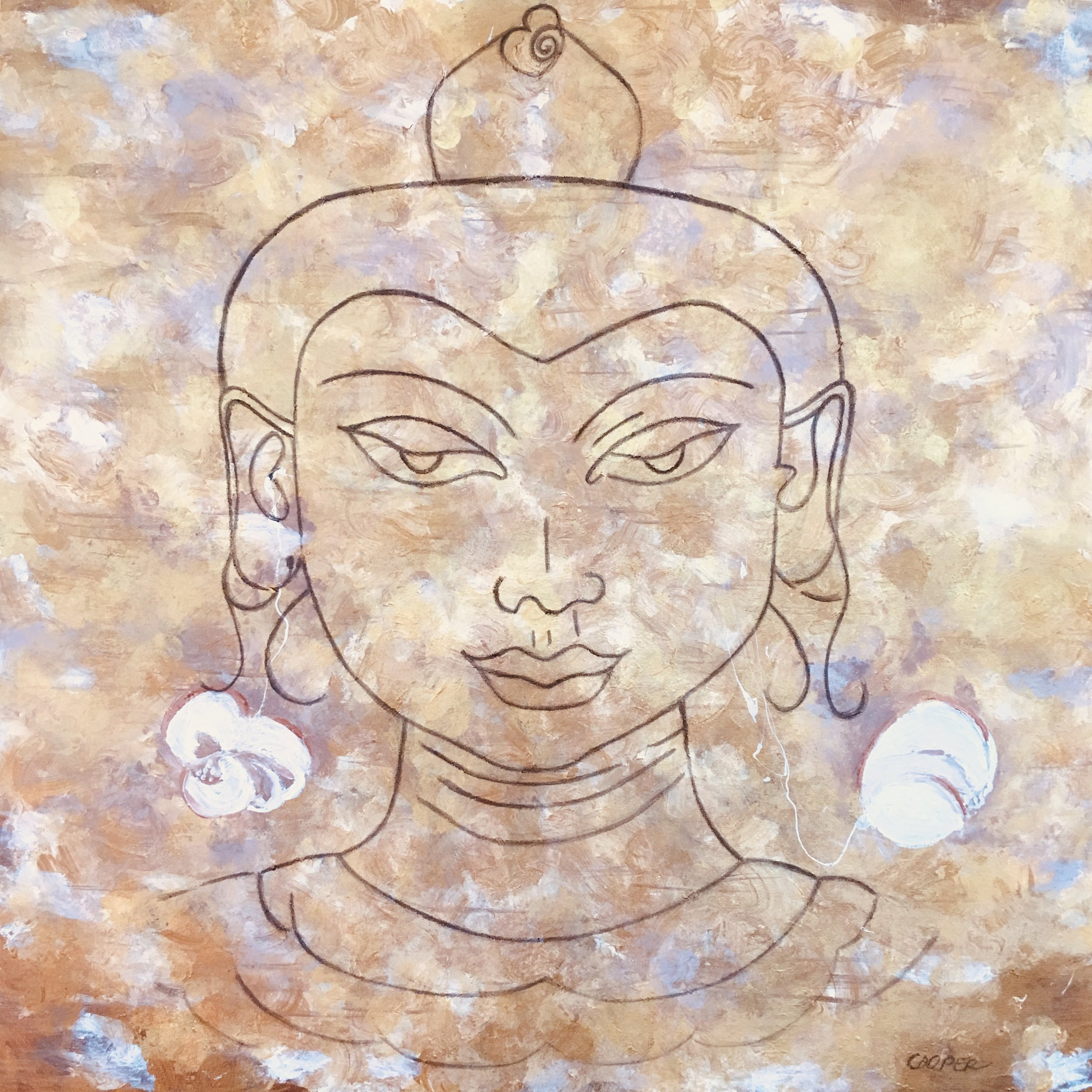 Contemplating Buddha. 32 x 32. Mixed Media on canvas.
