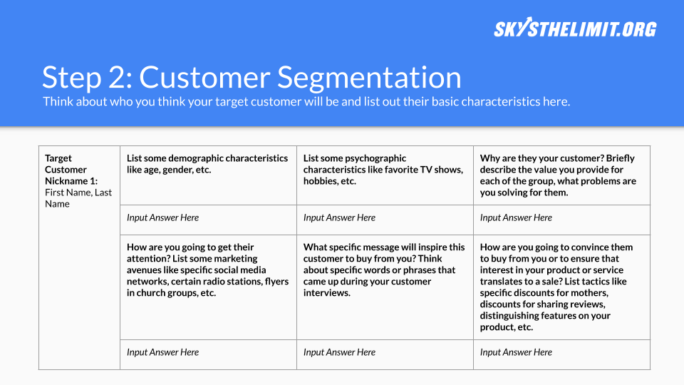 Customer Types Template - Click the button to copy our template to your Google Drive and start working on your own now!