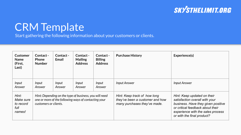 CRM Template - Click the button to copy our template to your Google Drive and start working on your own now!
