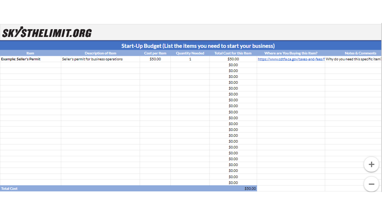 Start-up Budget Template - Click the button to copy our template to your Google Drive and start working on your own now!