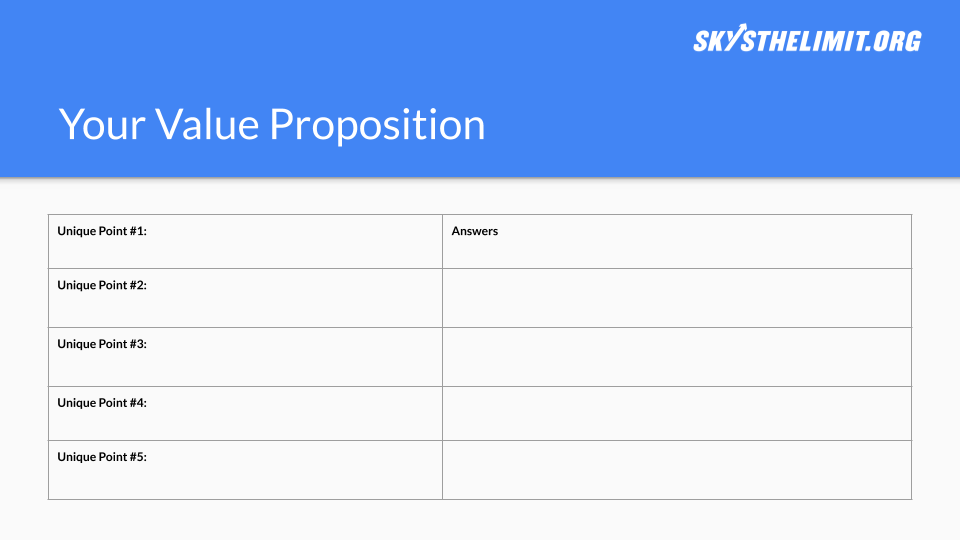 Value Proposition Template - Click the button to copy our template to your Google Drive and start working on your own now!