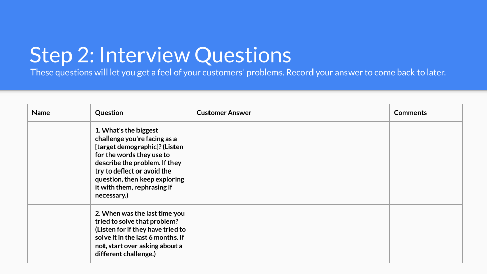 Customer Interviews Template - Click the button to copy our template to your Google Drive and start working on your own now!