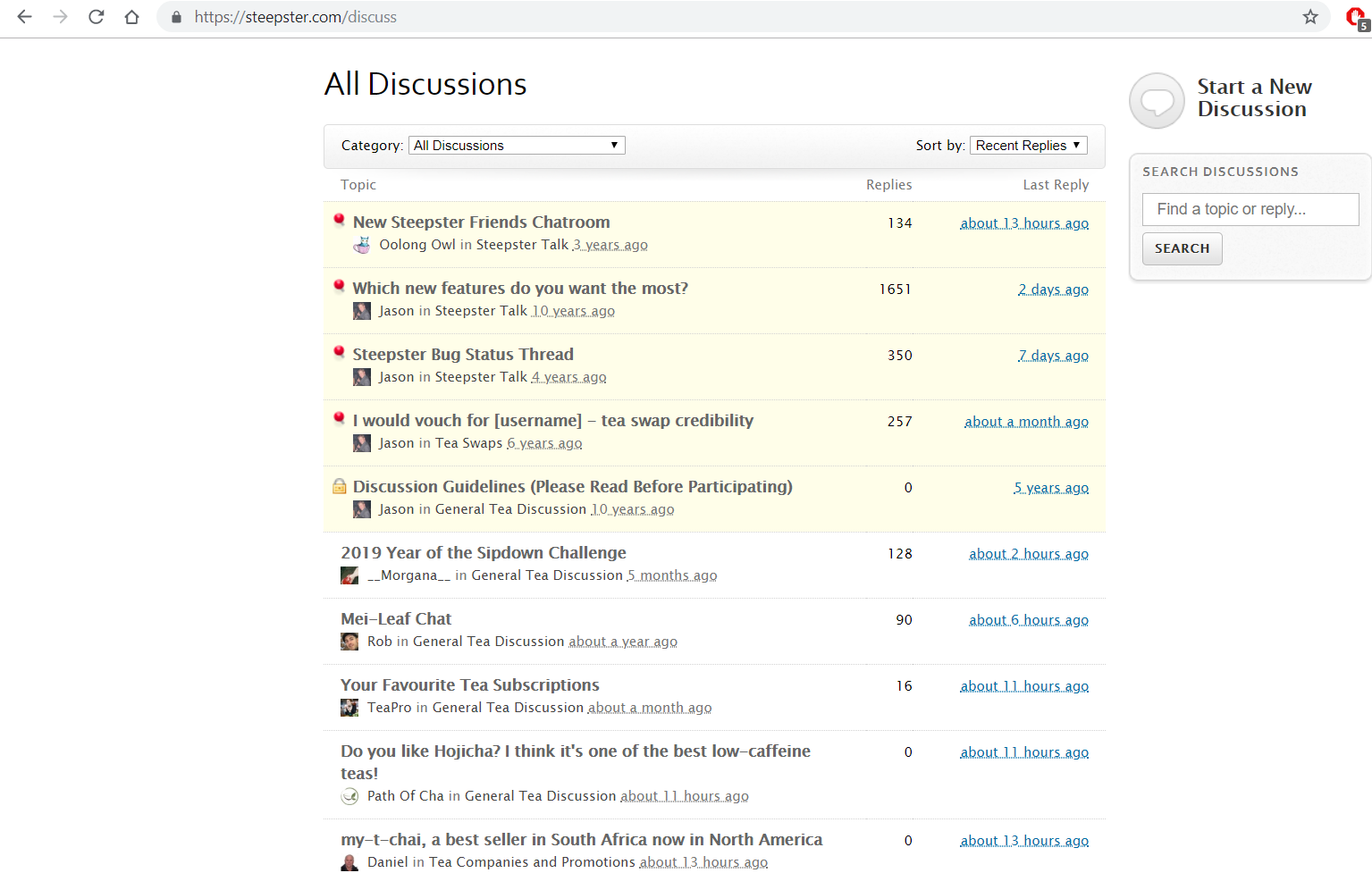 An active and spam free capture of the discussion board on Steepster. Taken 5.28.19