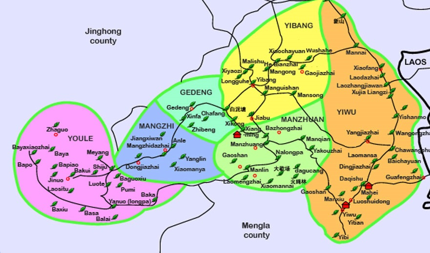Eastern Xishuangbanna, Six Famous Tea Mountains. Source: From    Teadb.org    via    Teachat, fdrx    via    puerh.cn   .