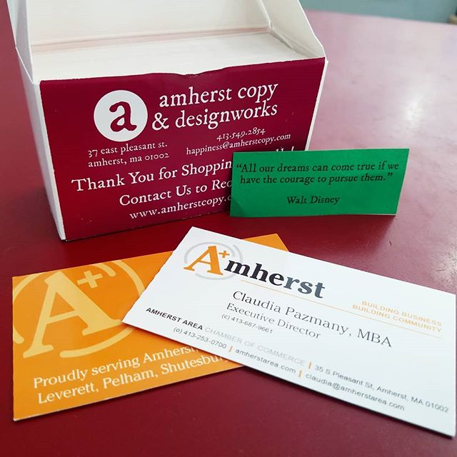 Just finished up some classy business cards for the @amherstareacc! Come get your own, and don't forget your #happinessquote