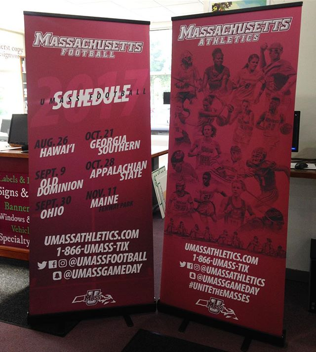 Always great to work with @umassathletics, especially when the projects turn out looking this awesome! #athletics #umassamherst #football #signs #printing #roland #retractablebanner