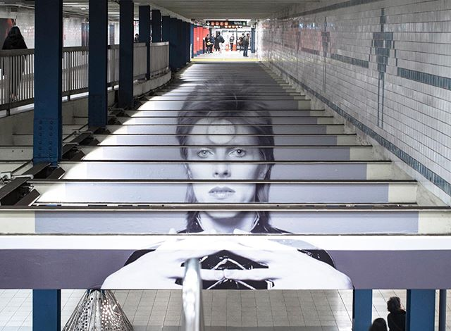 @spotify turned the Broadway-Lafayette subway station into an interactive tribute to @davidbowie and his relationship with New York City and the neighborhood. . The temporary exhibit featured large scale photo installations, branded Metro cards and Spotify links to hear his music within the app. . The brand installation won multiple Pencils and Cube at this year's #OSawards and #ADCawards