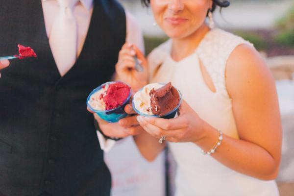Bride and Groom savoring their gelato