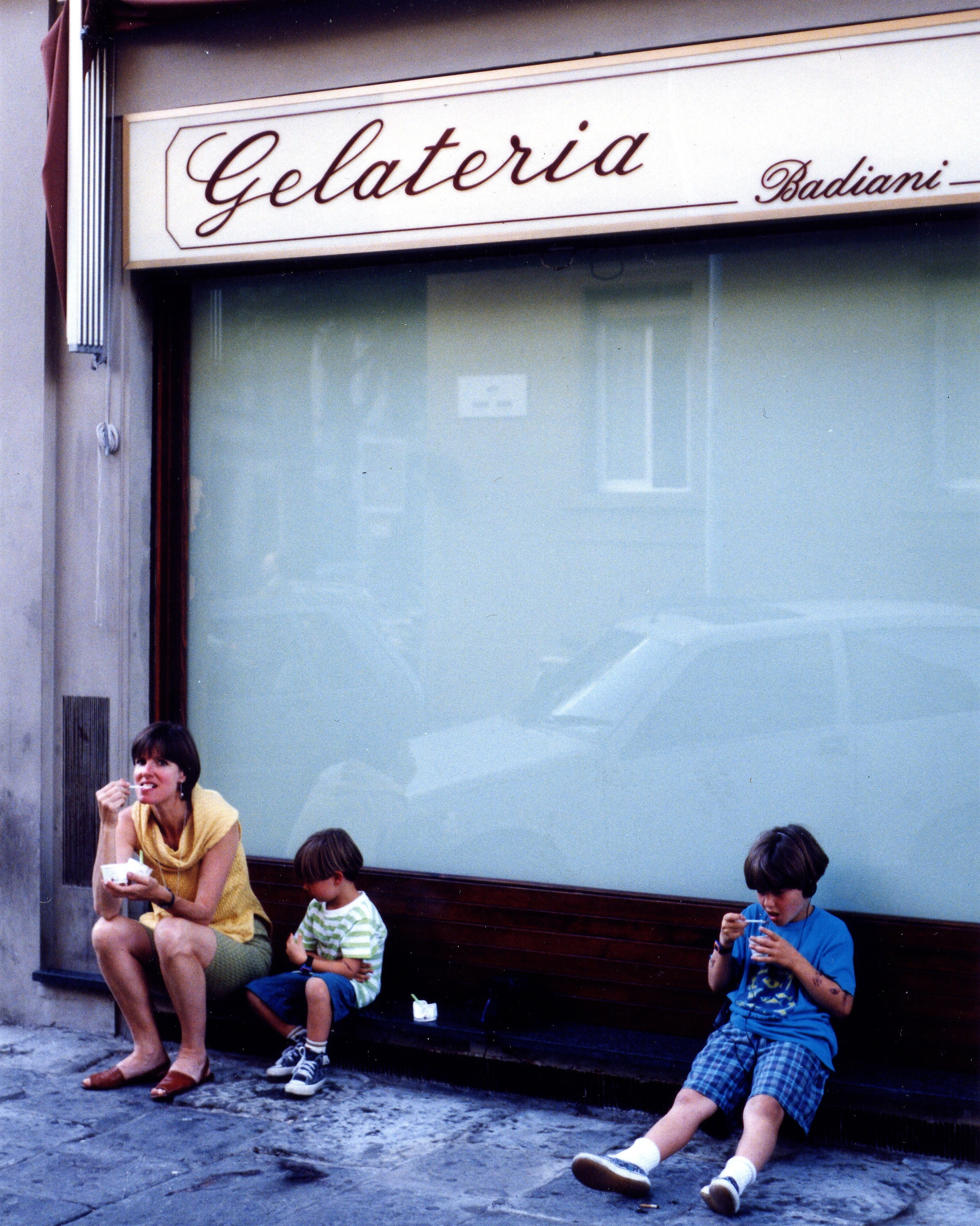 Mom, Paolo, Niccoló at Badiani, their favorite Florence, Italy gelateria