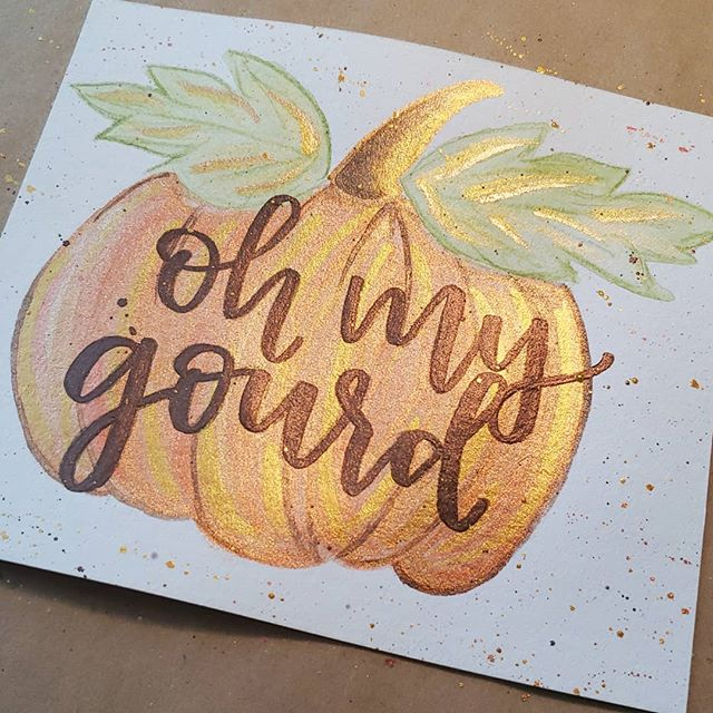 Update on my pumpkin post: I decided on #ohmygourd for the lettering over this beauty! If you're interested in having one for your self, DM me! Ill be painting a bunch to sell and want to give y'all the first dibs! 🧡🧡🧡 ⠀⠀⠀⠀⠀⠀⠀⠀⠀ ⠀⠀⠀⠀⠀⠀⠀⠀⠀ ⠀⠀⠀⠀⠀⠀⠀⠀⠀ #fleurdeleighdesigns #fleurdeleigh #handlettering #moderncalligraphy #brushlettering #lettering #calligraphy #modernscript #modernlettering #handscript #handwriting #letteringdesign #watercolor #watercolorcalligraphy #watercolorpractice #watercolorlettering #metallic #colirocolors #fall #fallseason #pumpkin #pumpkinspice #happyfall #art #watercolorart #creative