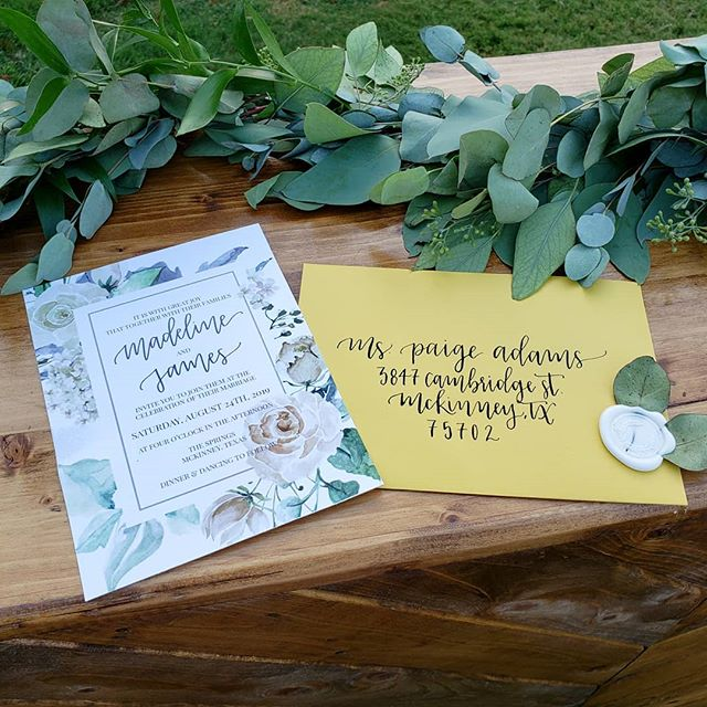 Loving this mustard + greenery theme from the #styledshoot I was part of this evening! Such a lovely color combination!! Also, it was my first time designing digital invitations using my lettering. I think they turned out really great! ⠀⠀⠀⠀⠀⠀⠀⠀⠀ ⠀⠀⠀⠀⠀⠀⠀⠀⠀ ⠀⠀⠀⠀⠀⠀⠀⠀⠀ #fleurdeleighdesigns #fleurdeleigh #handlettering #moderncalligraphy #brushlettering #lettering #calligraphy #modernscript #modernlettering #handscript #handwriting #letteringdesign #weddingenvelopes #envelopeaddressing #envelopecalligraphy #weddingdetails #elegant #calligraphylove #flatlay #styledwedding #collaboration #dfwwedding #dfwcalligraphy #wedding #mustardwedding #greenery #weddingdesign #papersource