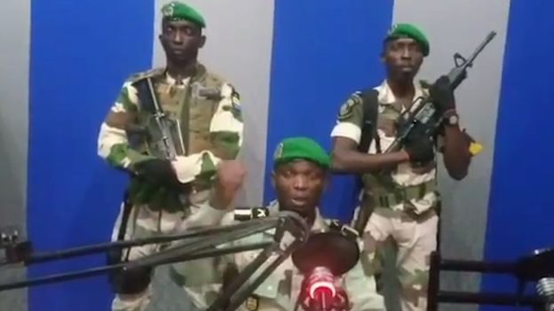 Gabon soldiers took over state media headquarters this weekend to declare a coup. The government says that the situation is now under control. Screenshot from Gabon Television.