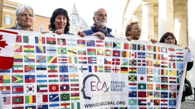 Representatives of the organisation Ending Clergy Abuse (ECA) demonstrate in Rome. Photo from EPA