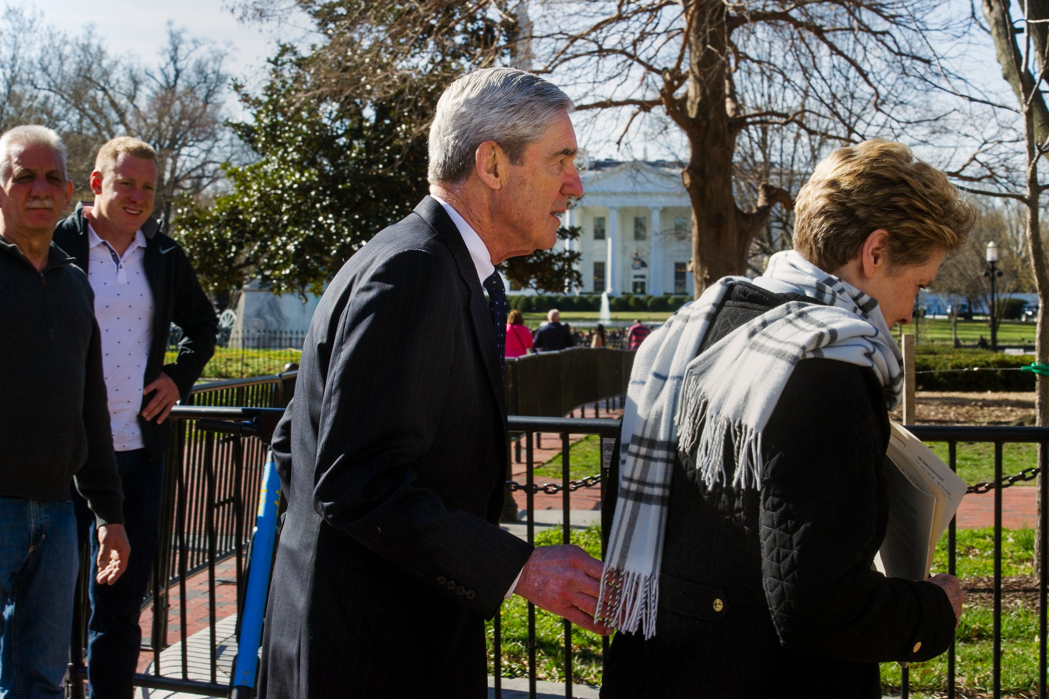 The special counsel, Robert S. Mueller III, and his wife, Ann, near the White House after attending church on Sunday. Credit Cliff Owen/Associated Press