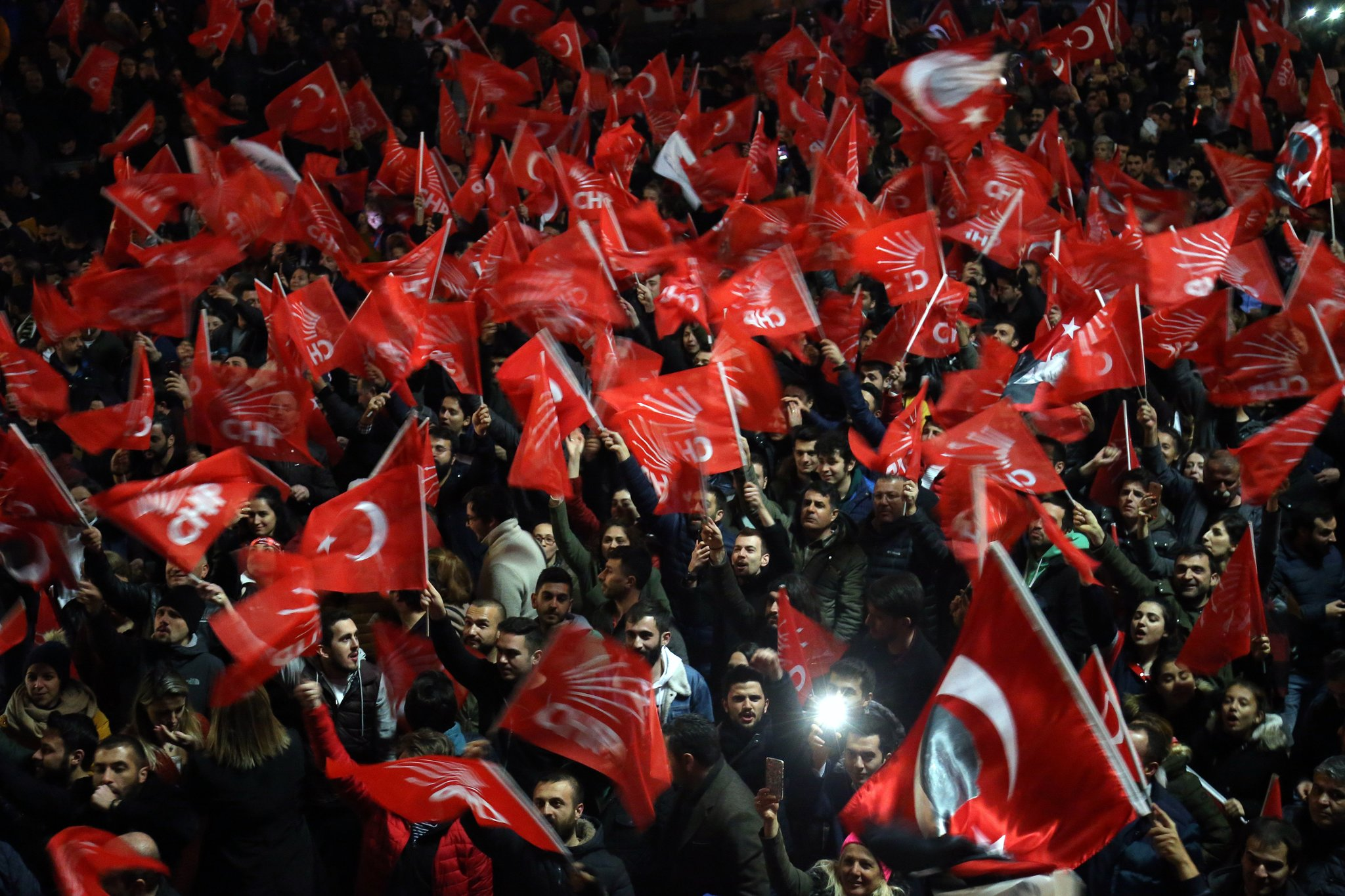 Supporters of the opposition Republican People's Party celebrating in Ankara, Turkey, on Sunday. Credit EPA, via Shutterstock