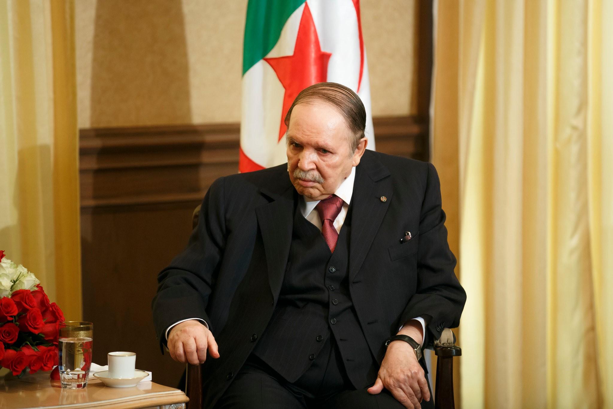 Algeria's president, Abdelaziz Bouteflika, in 2015. Long ill, Mr. Bouteflika announced on Tuesday that he had resigned. Credit Thomas Trutschel/Photothek, via Getty Images
