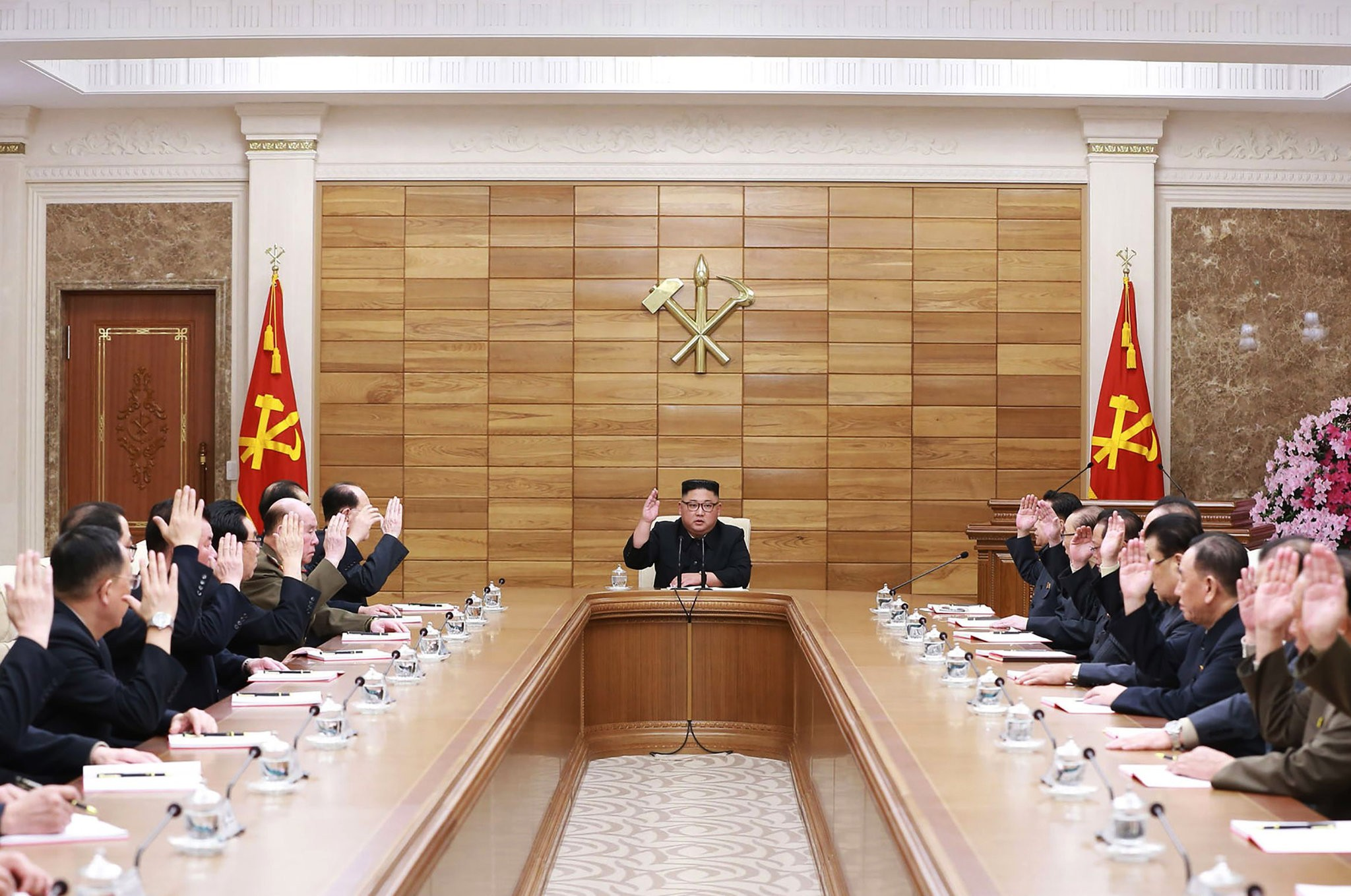 A photo released by the North Korean state news media, said to be of Kim Jong-un at a meeting this month of the ruling Workers Party in Pyongyang. Credit Korean Central News Agency, via Agence France-Presse — Getty Images