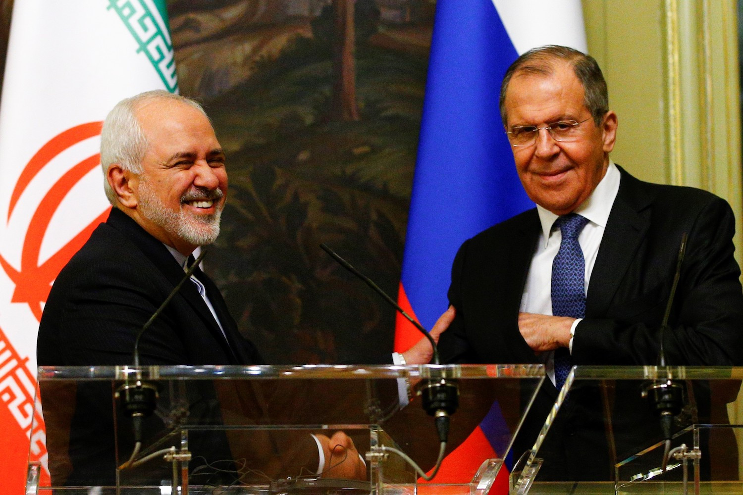 Iranian Minister of Foreign Affairs Mohammad Javad Zarif and Russian Foreign Minister Sergei Lavrov meet in Moscow on May 8. Sefa Karacan/Anadolu Agency/Getty Images