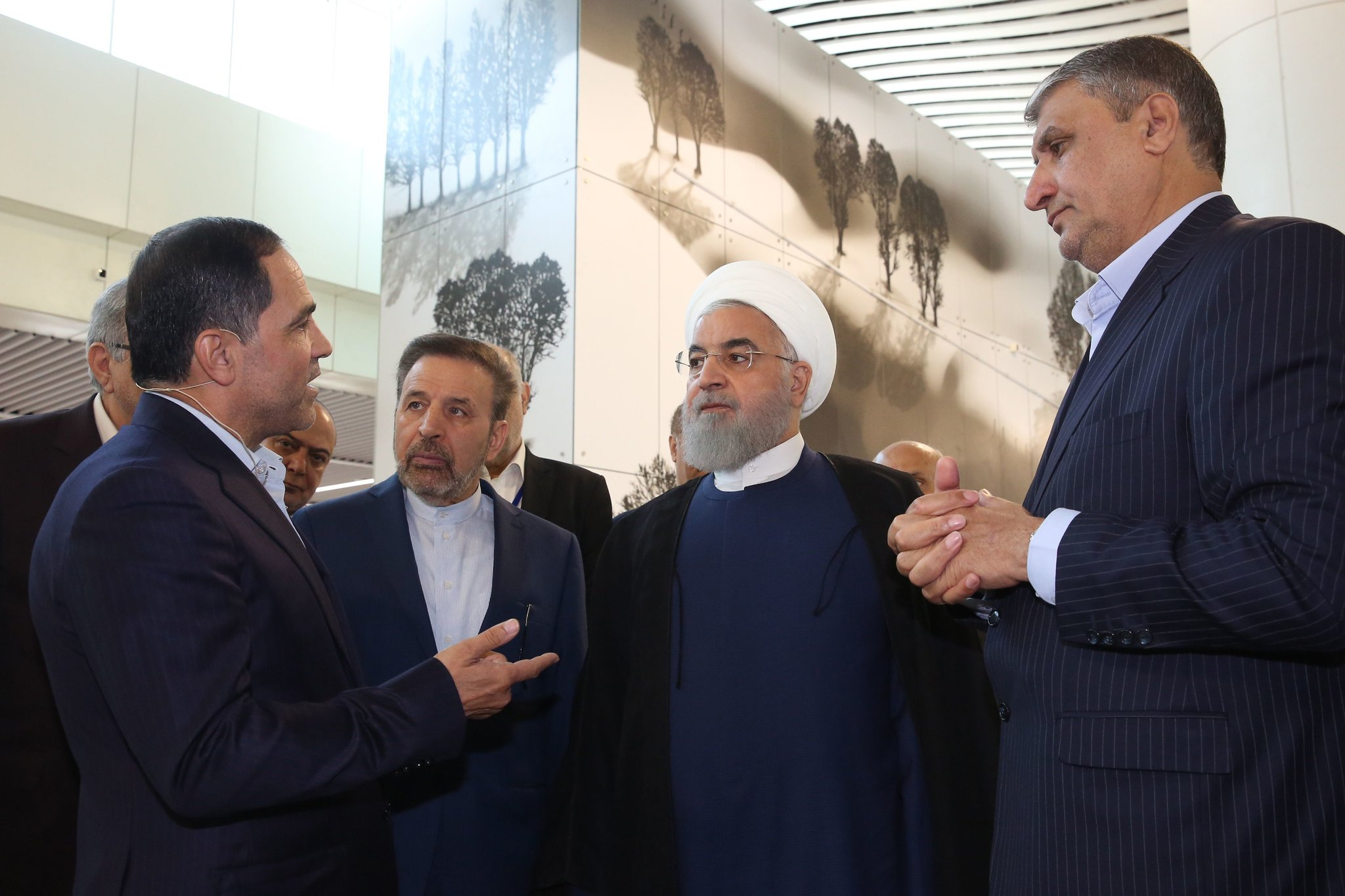 President Hassan Rouhani of Iran, second from right. The country is threatening to violate the terms of the nuclear deal if Europe does not provide relief from United States sanctions. Credit Iranian Presidential Office